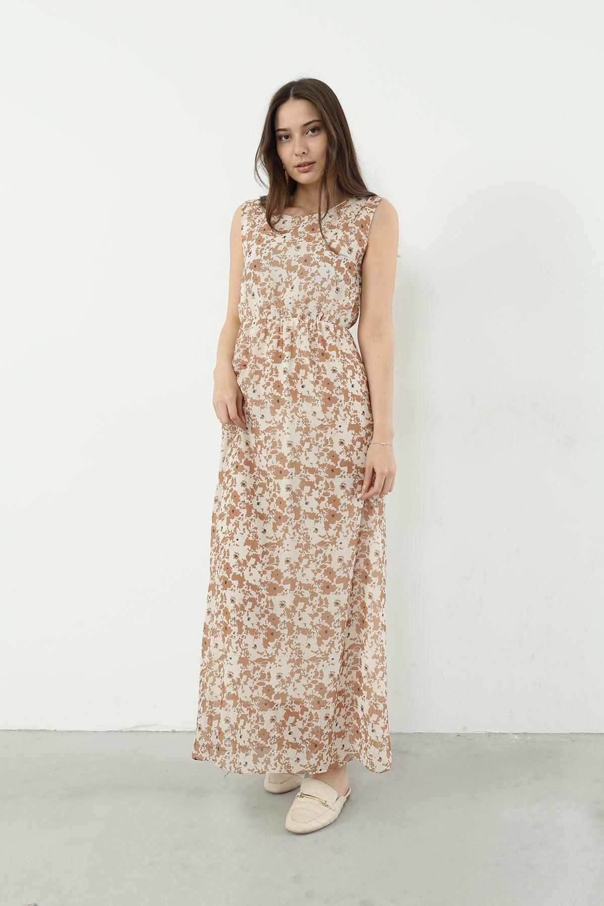 Şifon Elbise-Bej