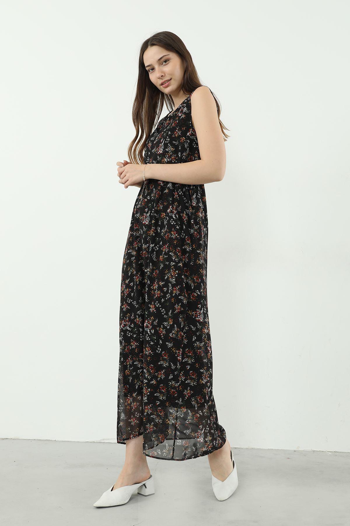 Çiçek Desen Şifon Elbise-Siyah