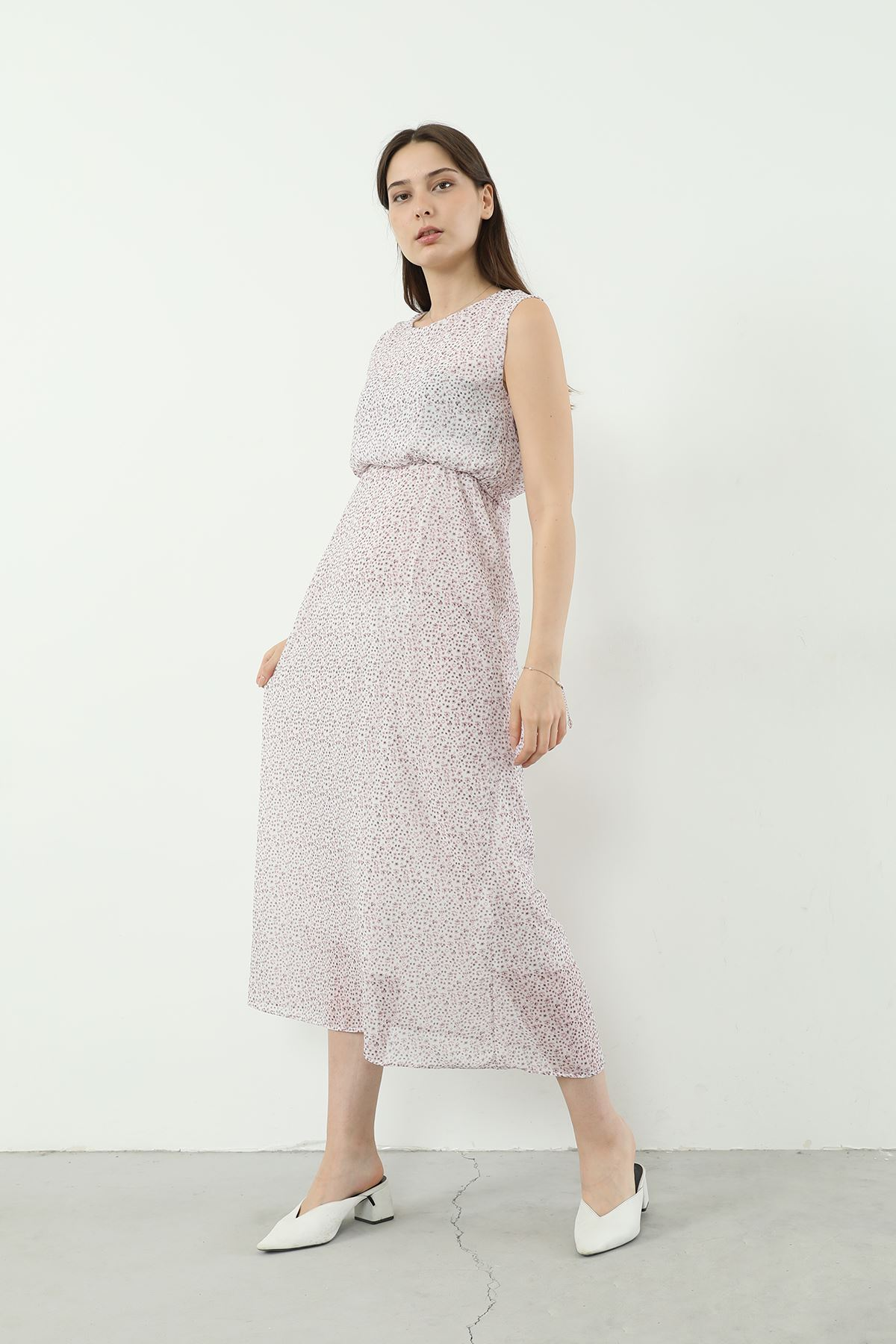Sıfır Kol Şifon Elbise-Pudra