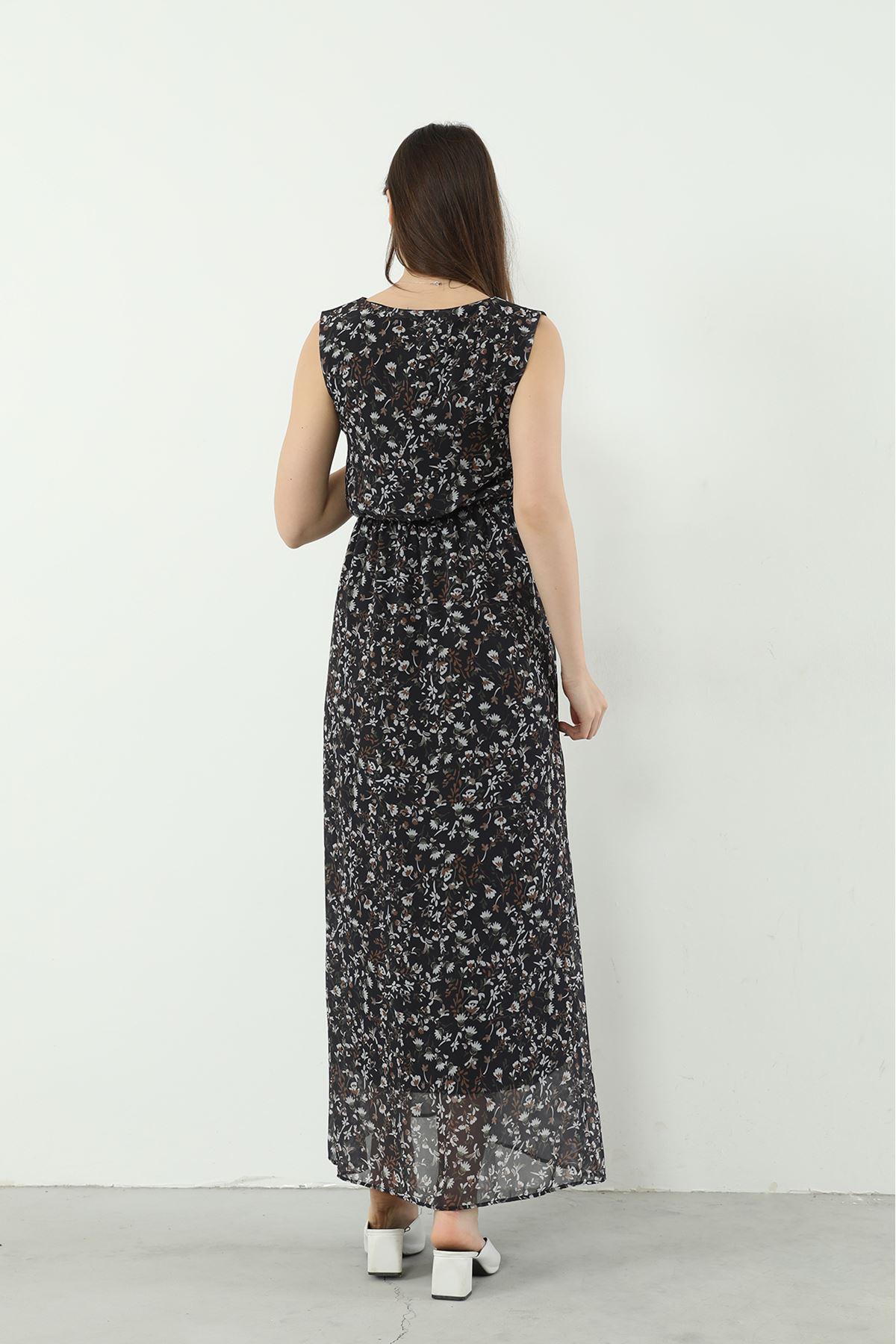 Desenli Sıfır Kol Elbise-Siyah