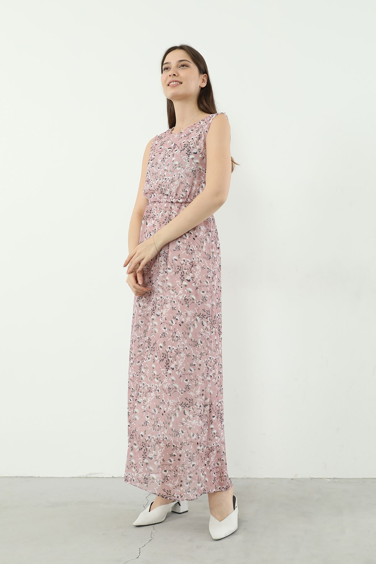 Desenli Sıfır Kol Elbise-Pudra