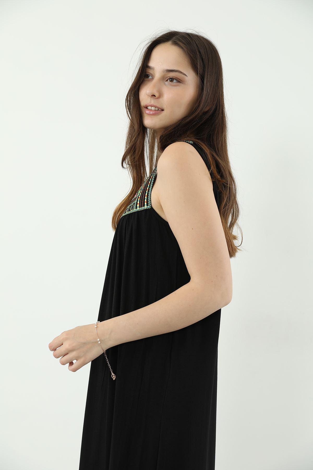 İşlemeli Askılı Elbise-Siyah