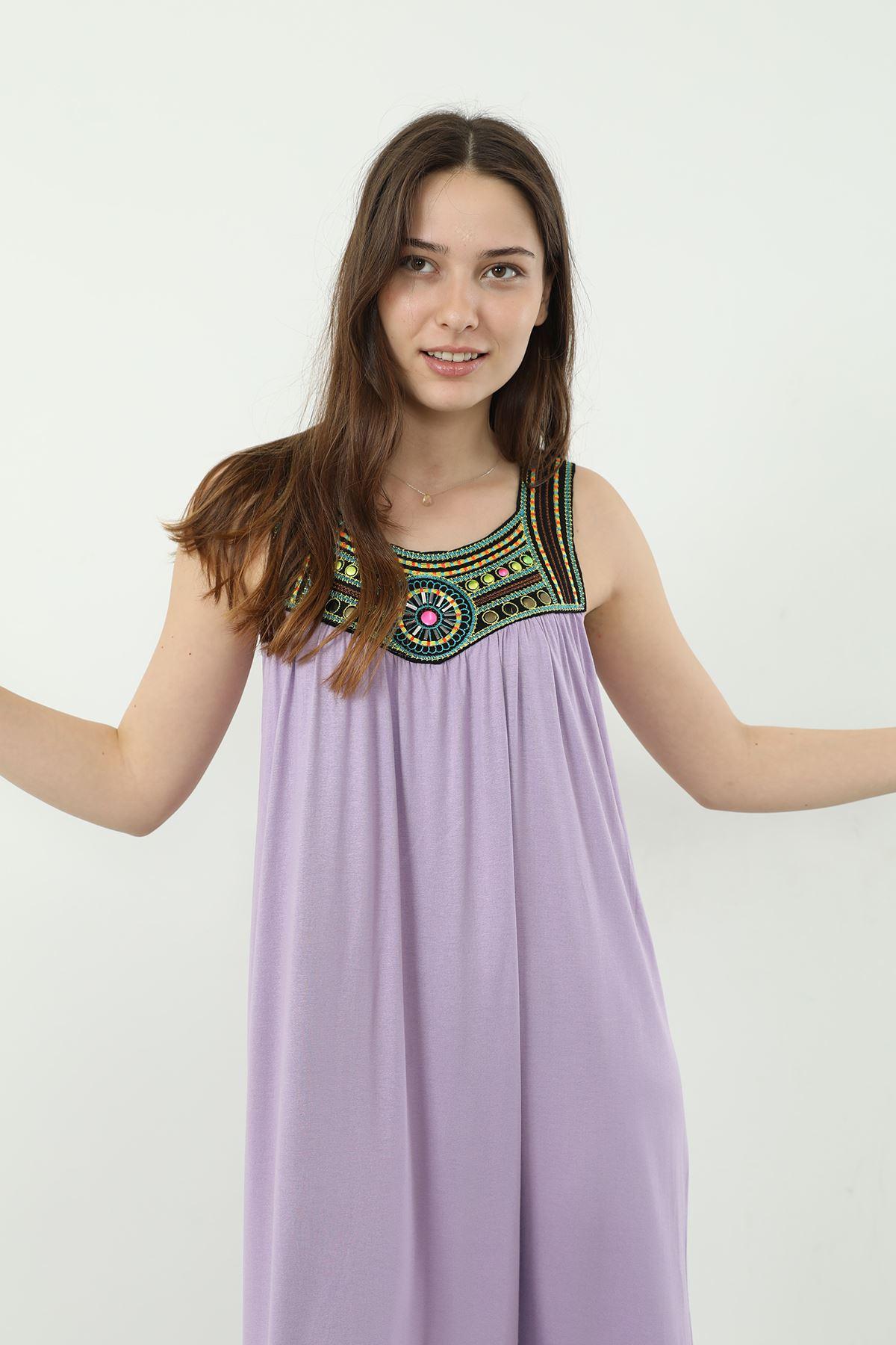 İşlemeli Askılı Elbise-Lila