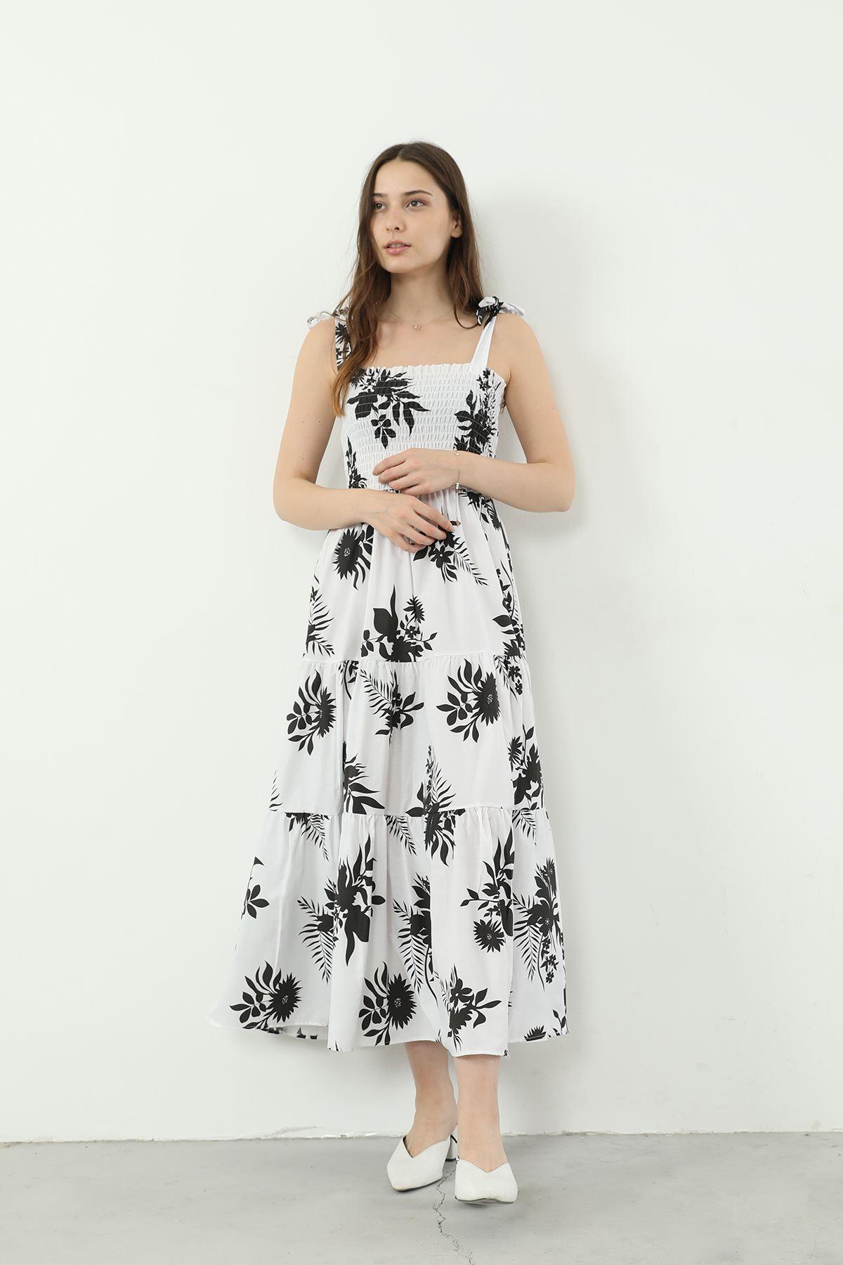 Askılı Çiçek Desen Elbise-Beyaz