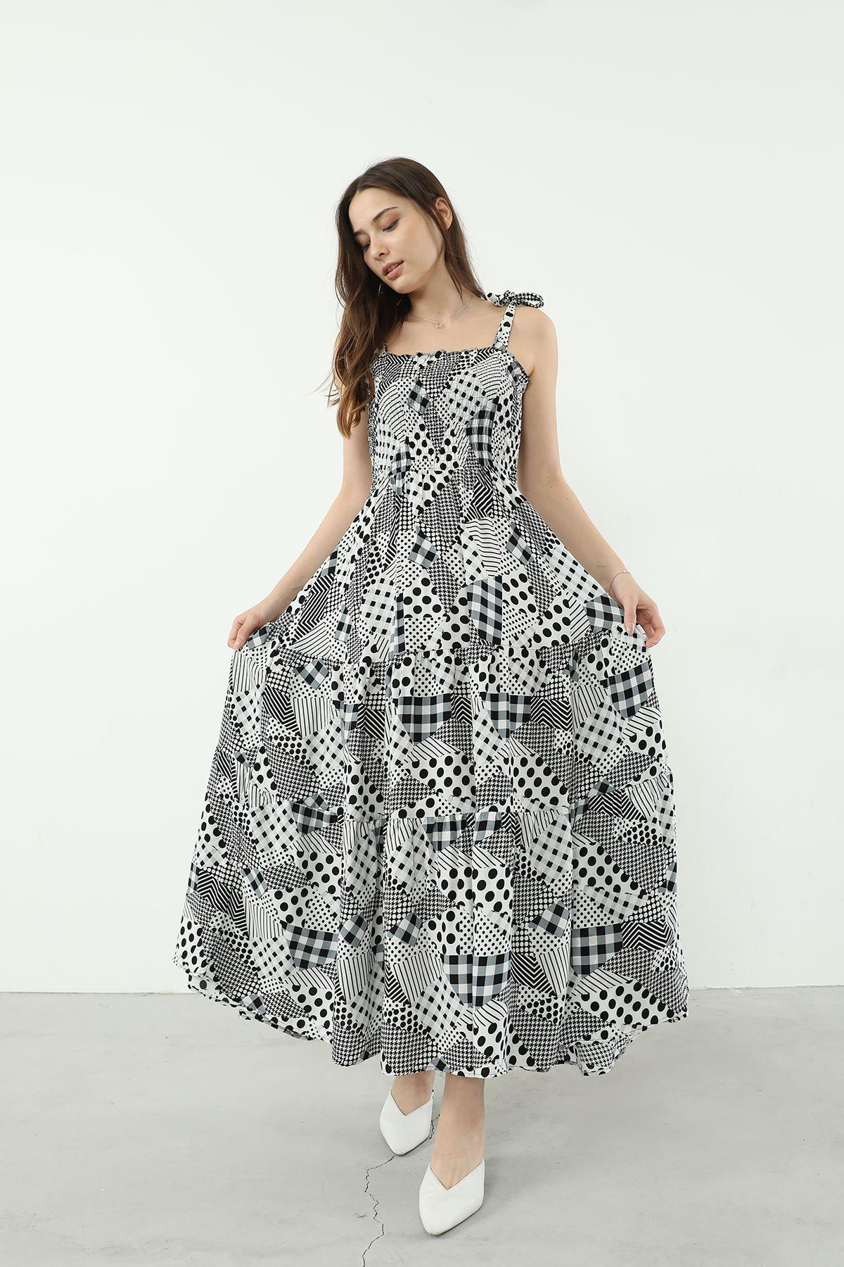 Desenli Askılı Elbise-Siyah