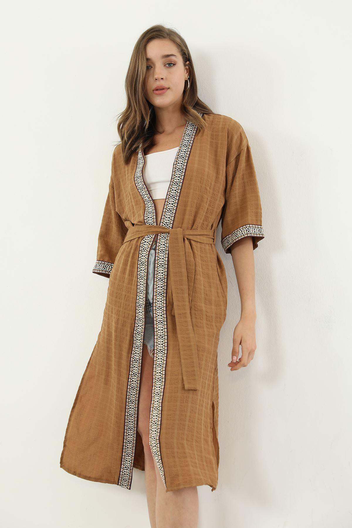 Kuşaklı Kimono-Camel