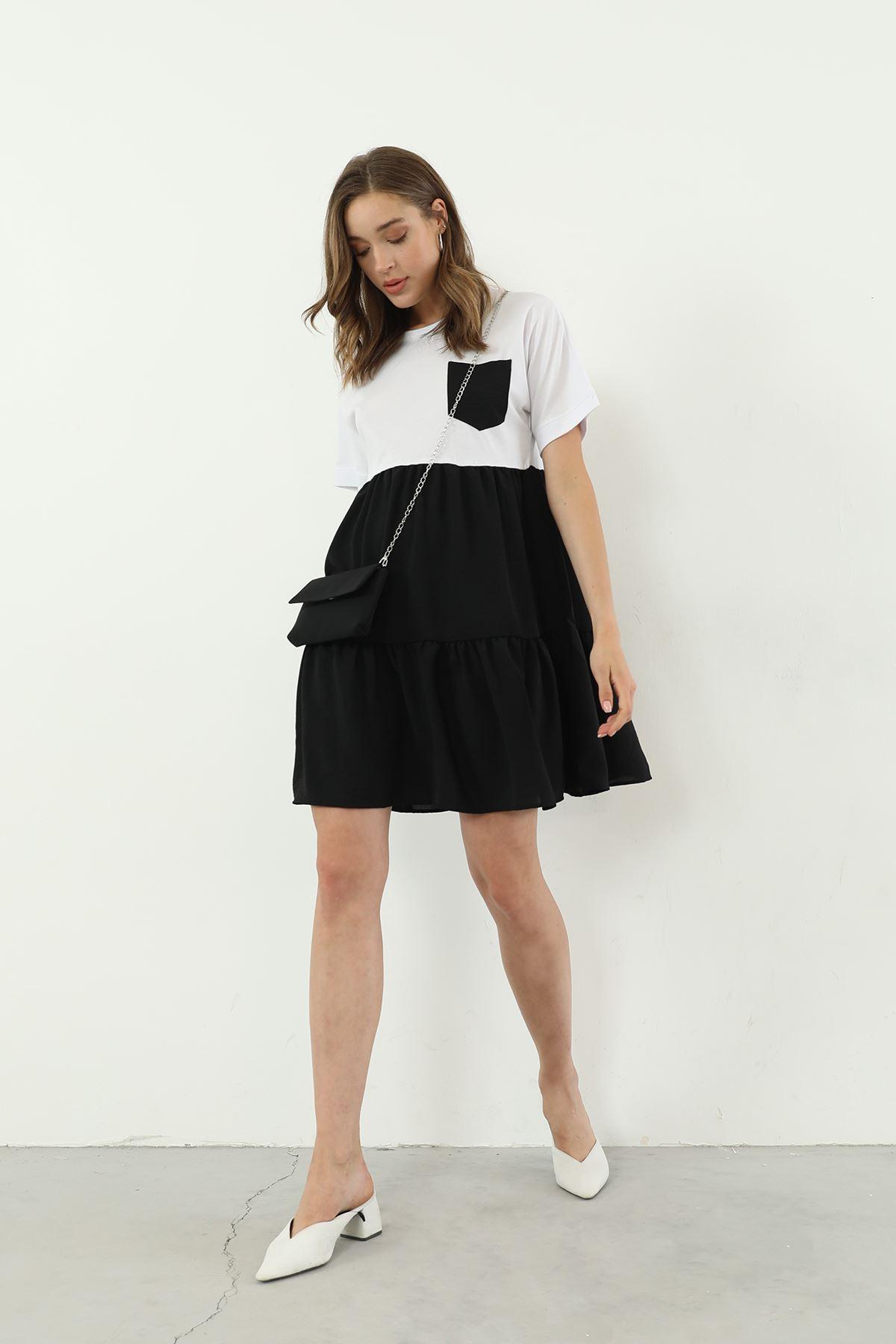 Çantalı Elbise-Siyah