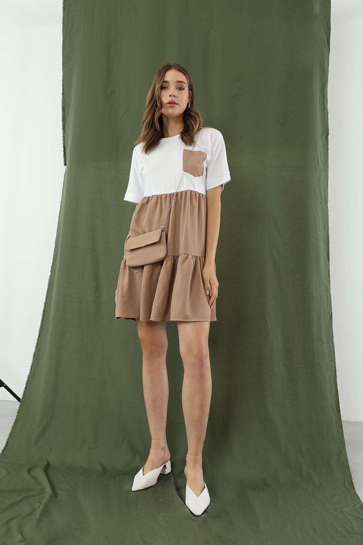 Çantalı Elbise-Bej