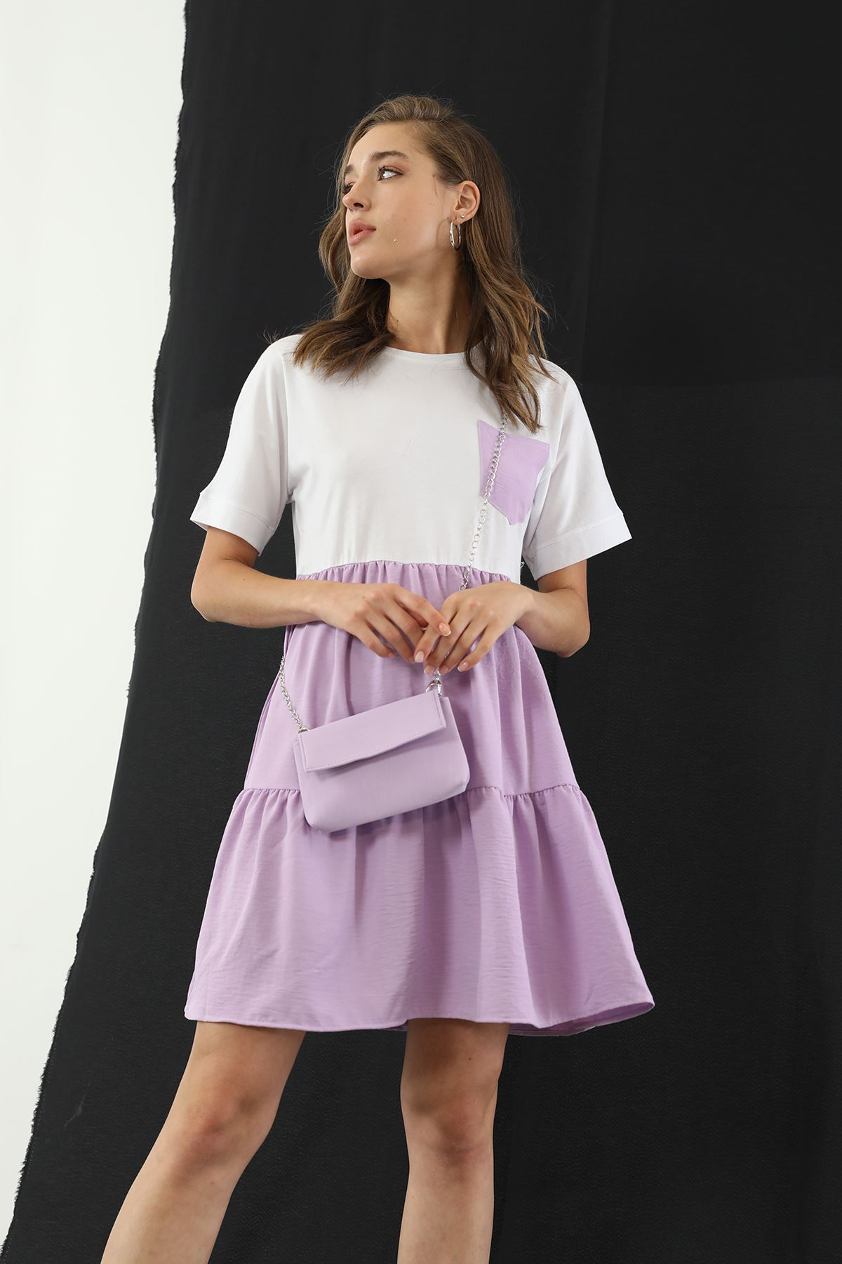 Çantalı Elbise-Lila