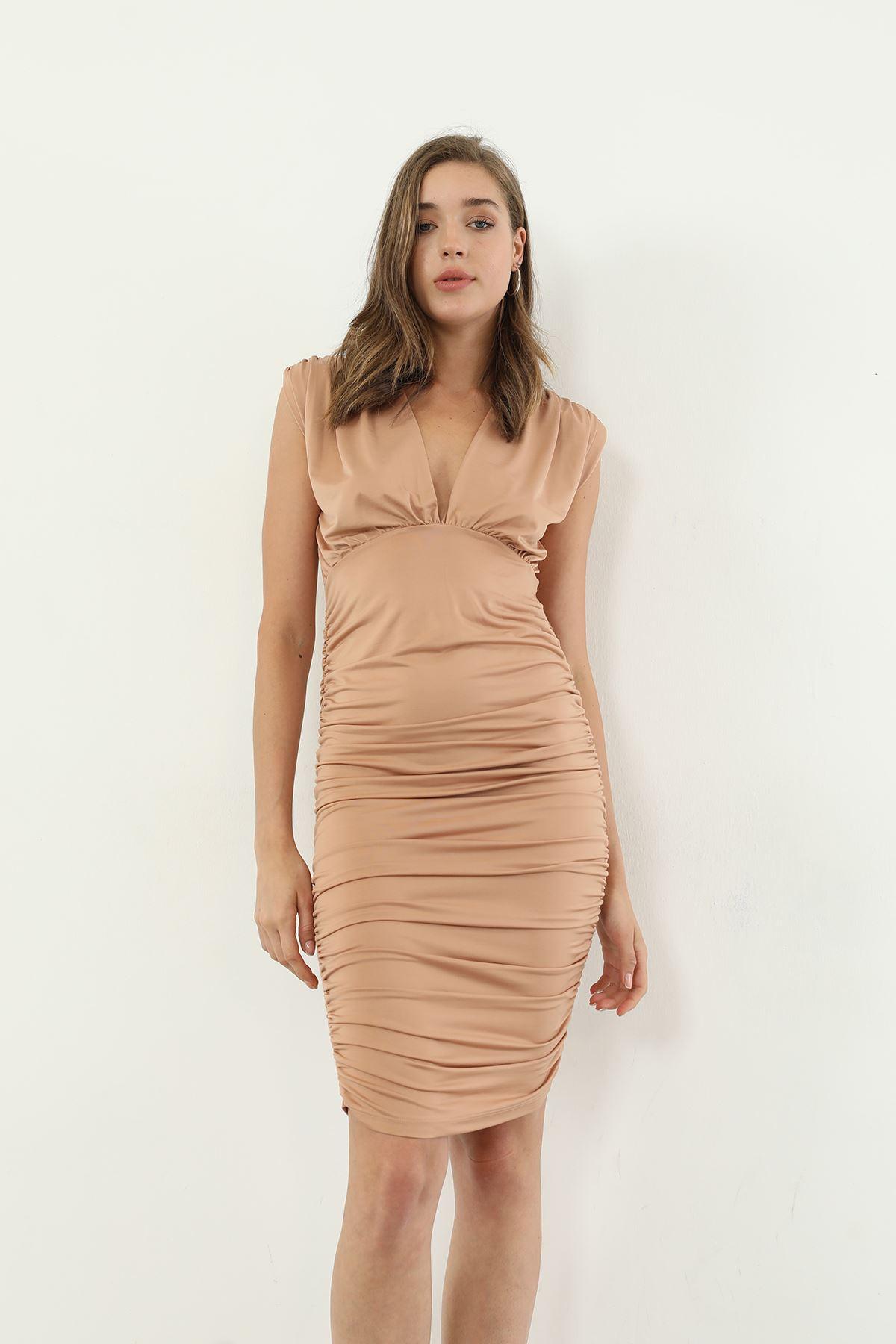 Vatkalı Elbise-Taba
