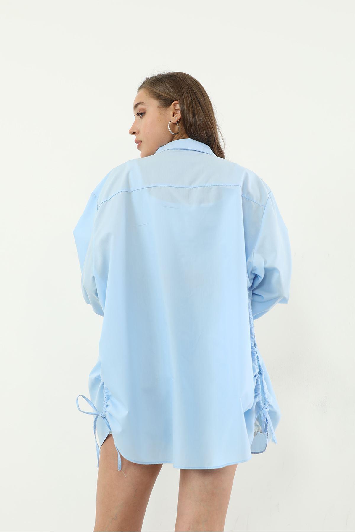 Bağlamalı Gömlek-Mavi