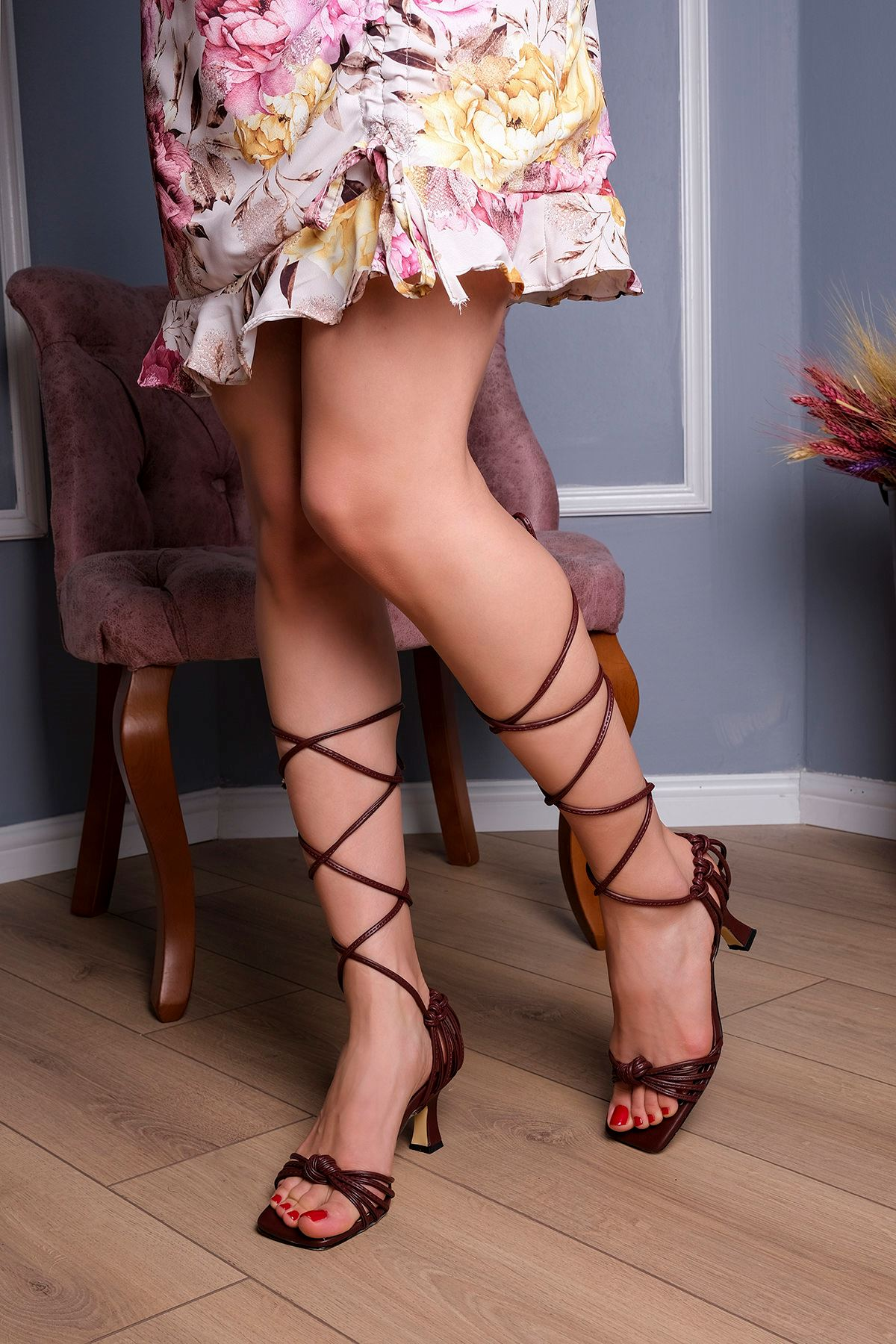 Bağlamalı Topuklu Ayakkabı-Bordo