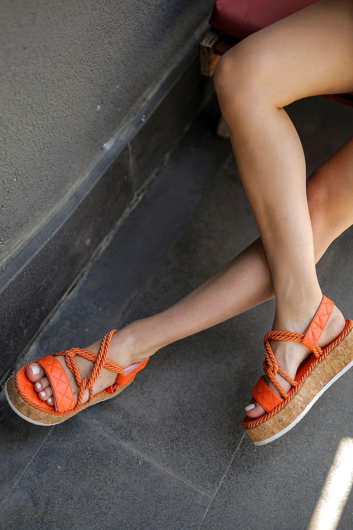 Bağlamalı Sandalet-Oranj