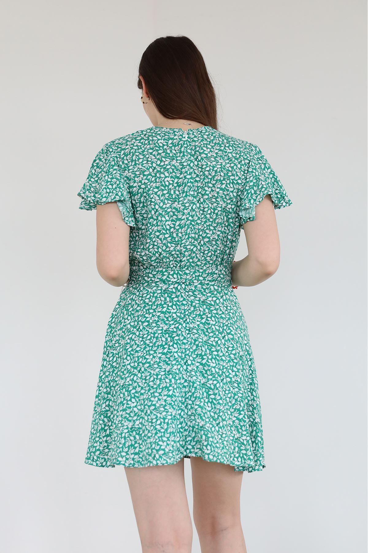 Kruvaze Yaka Desenli Elbise-Yeşil