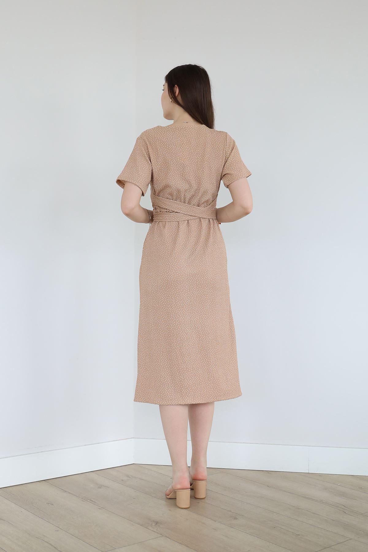 Düğmeli Elbise-Camel