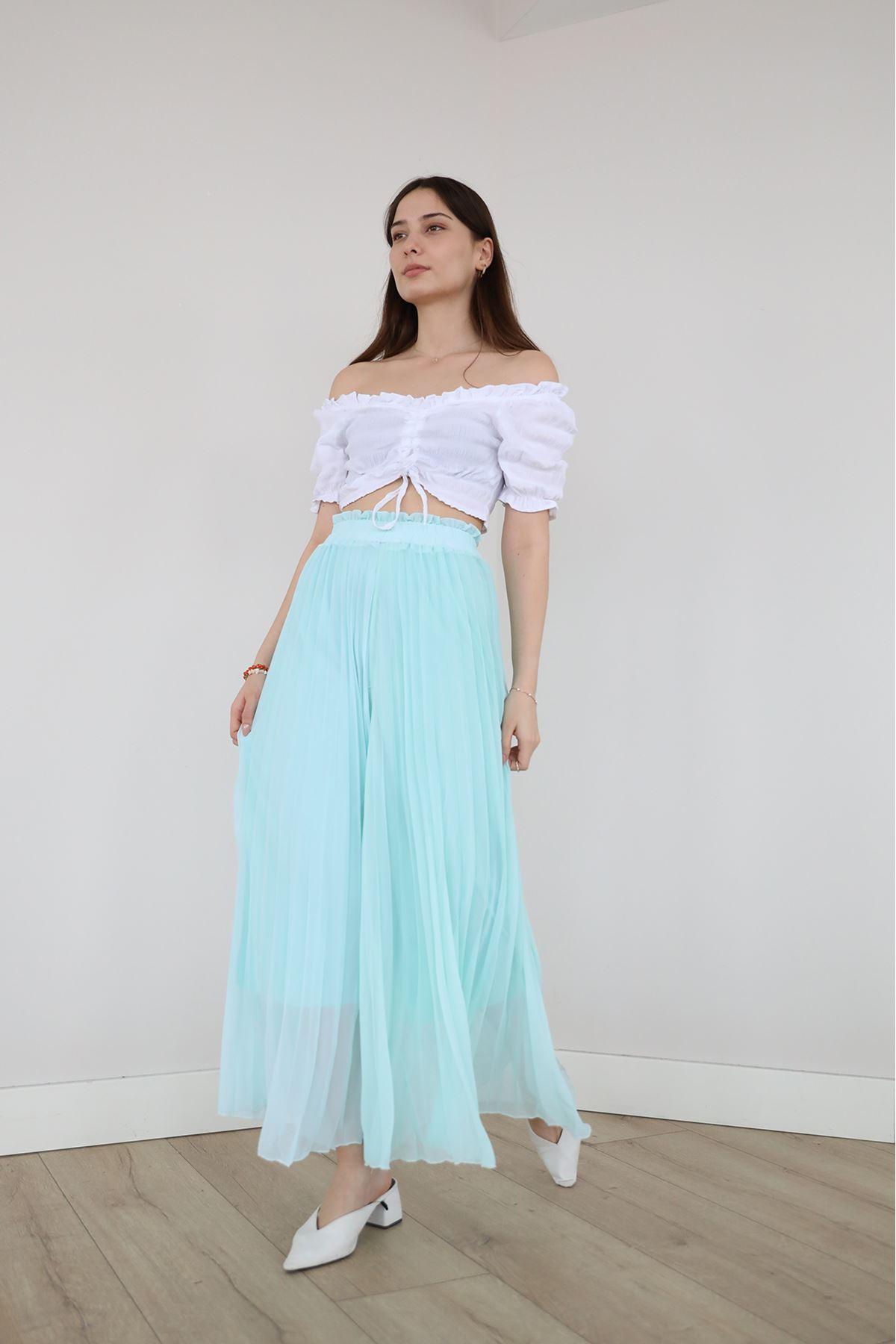Şifon Piliseli Pantolon-Su Yeşili