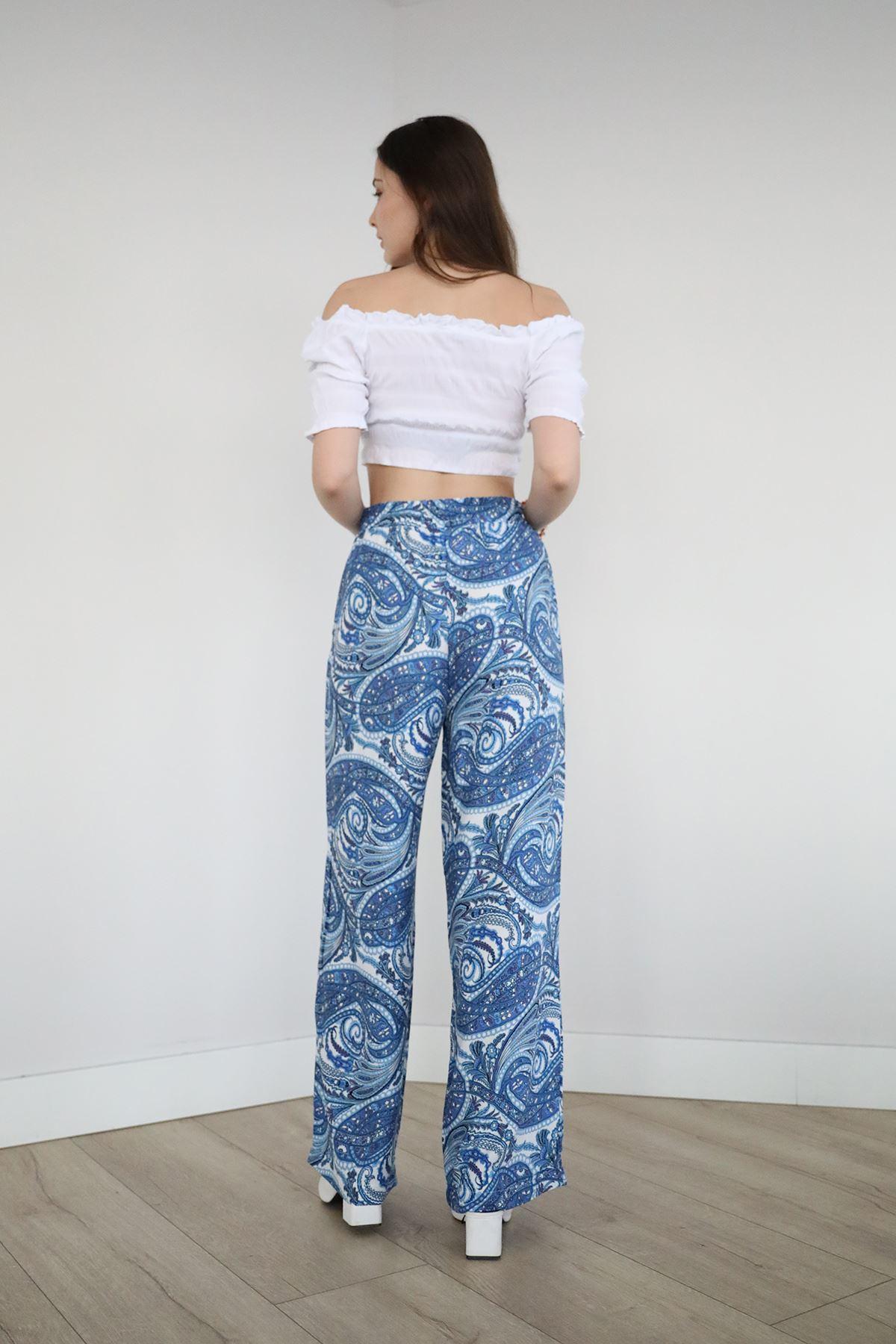 Desenli Bol Pantolon-Mavi