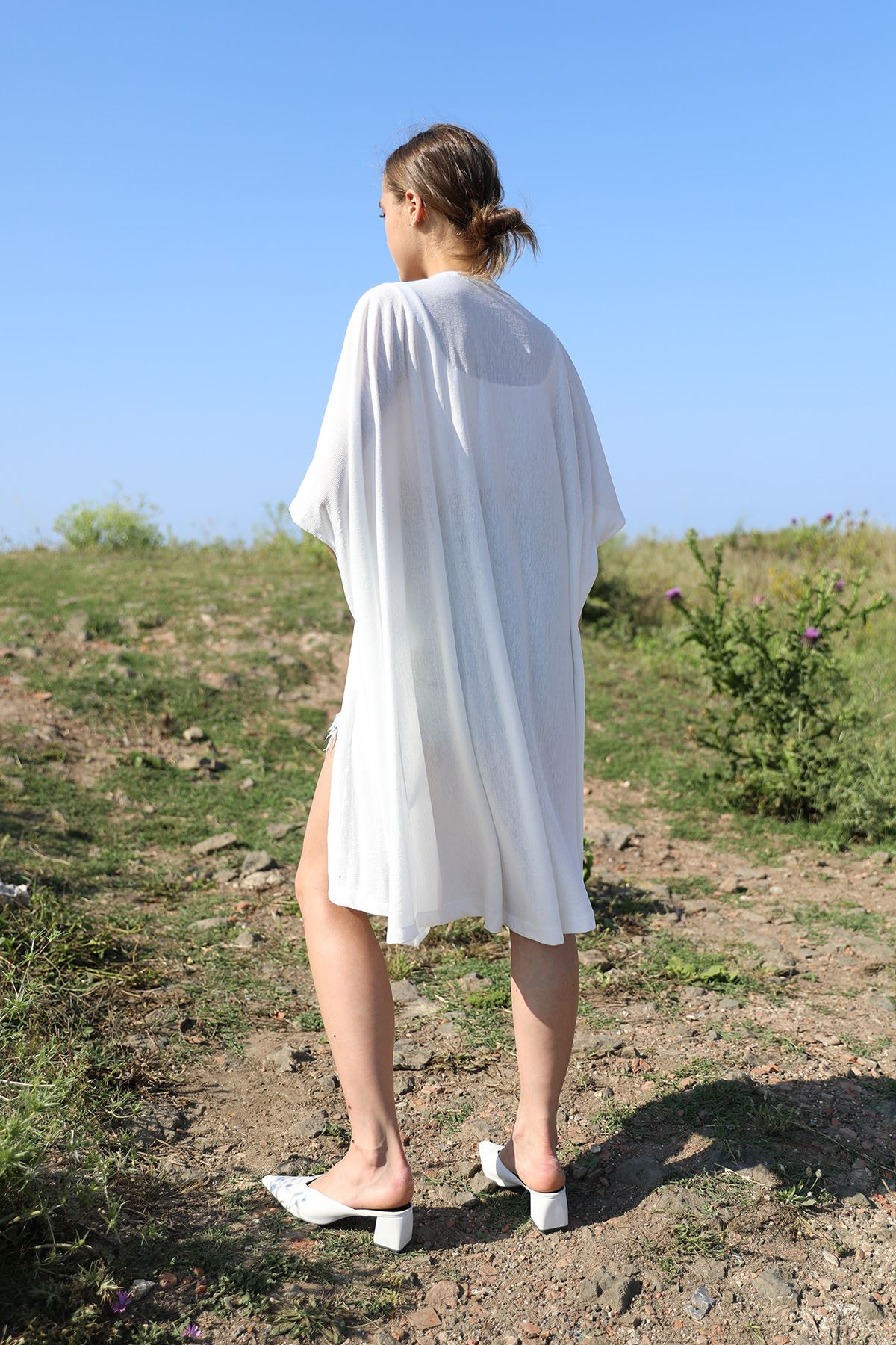 Yarasa Kol Kimono-Ekru