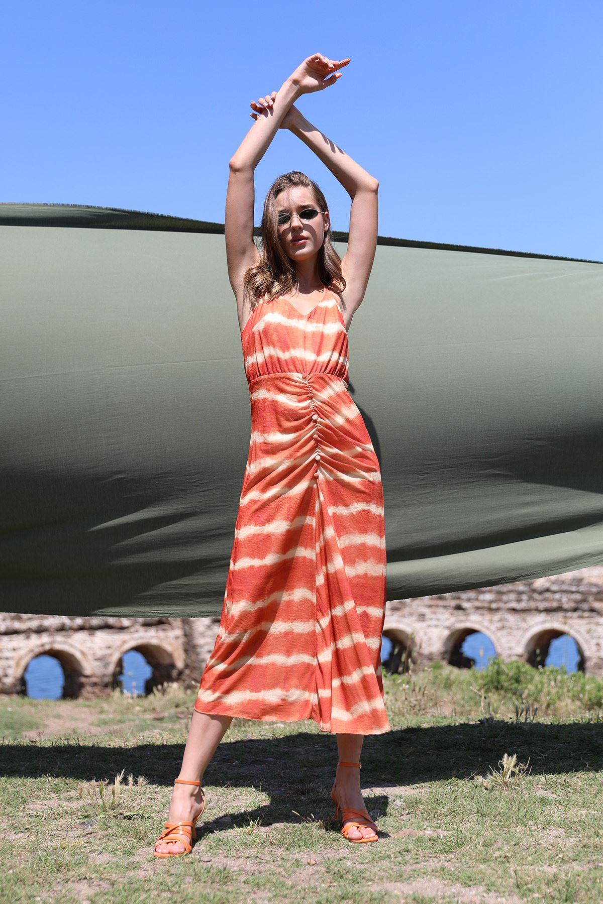 Askılı Elbise-Oranj