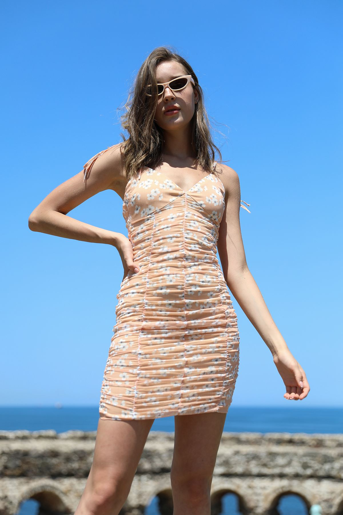 Büzgülü Elbise-Oranj