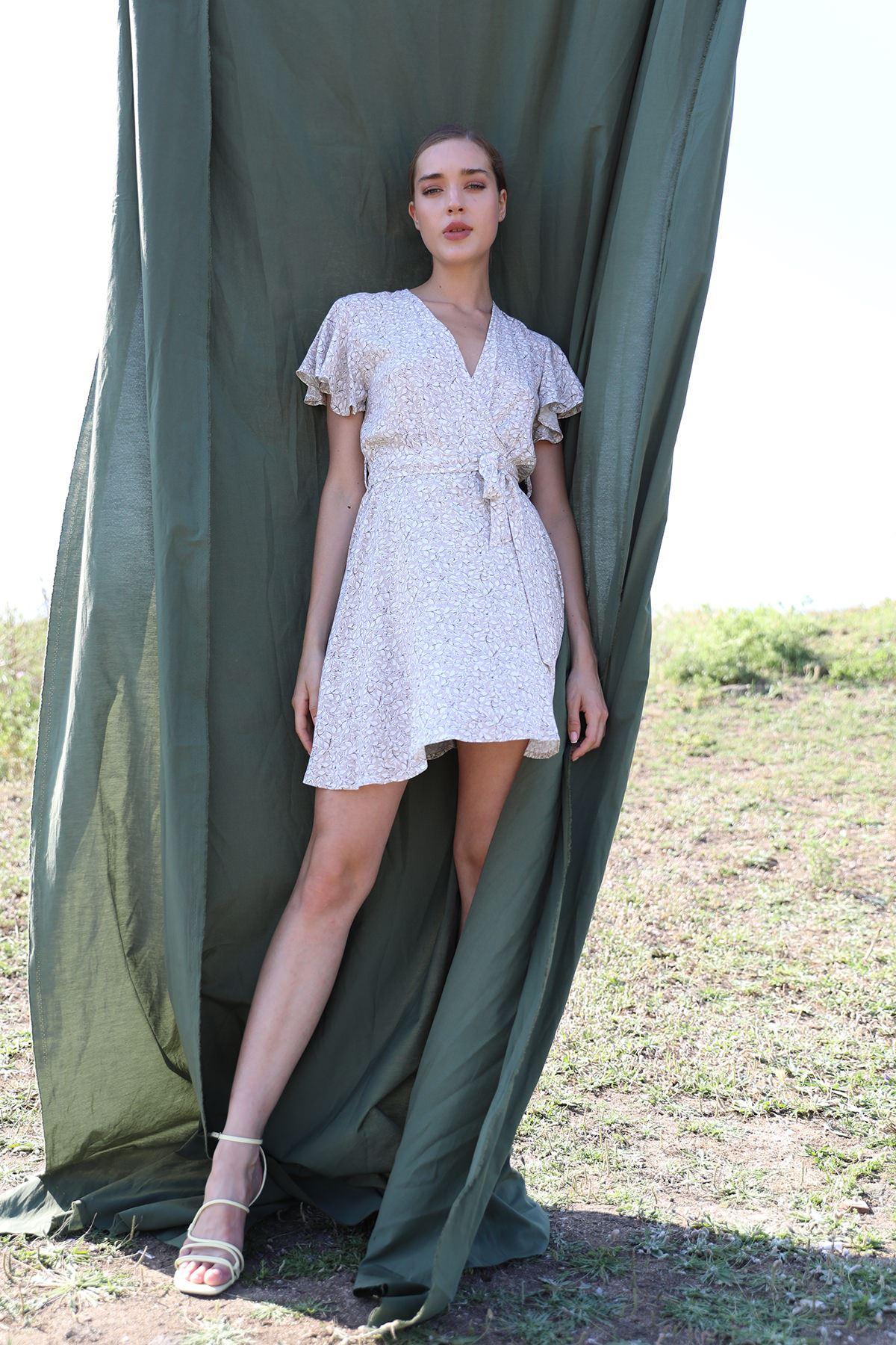 Kruvaze Yaka Desenli Elbise-Taş