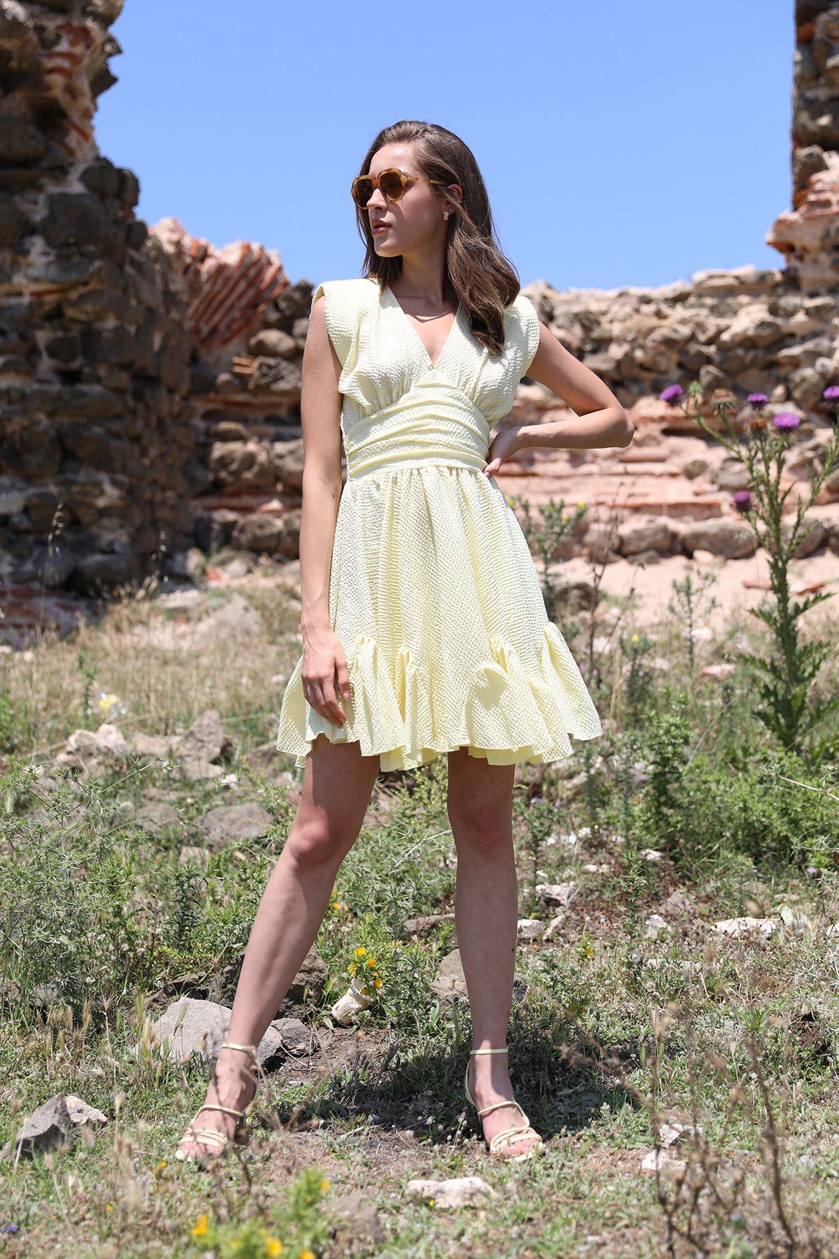 Vatkalı Elbise-Sarı