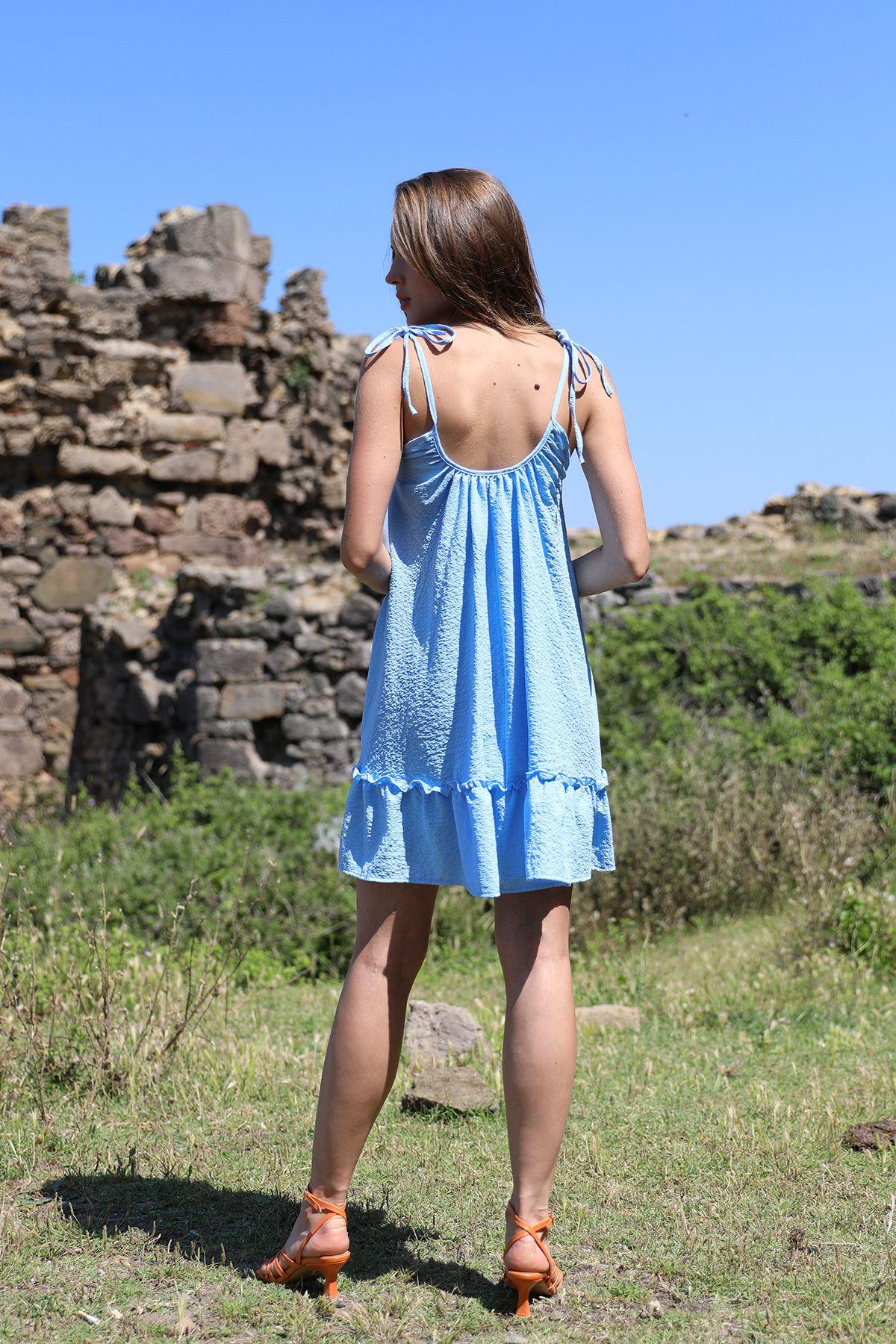 Eteği Fırfırlı Elbise-Mavi