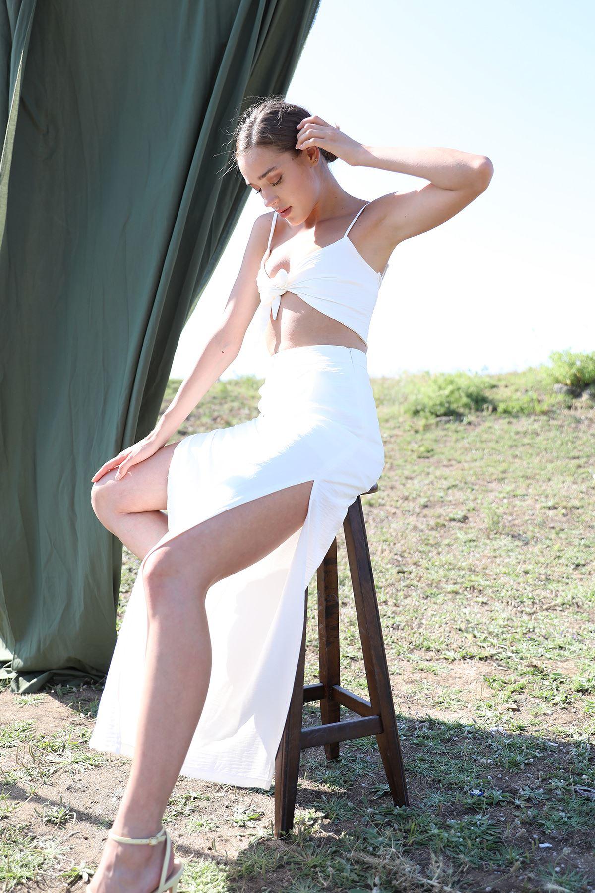Bol Paça Pantolon Takım-Beyaz