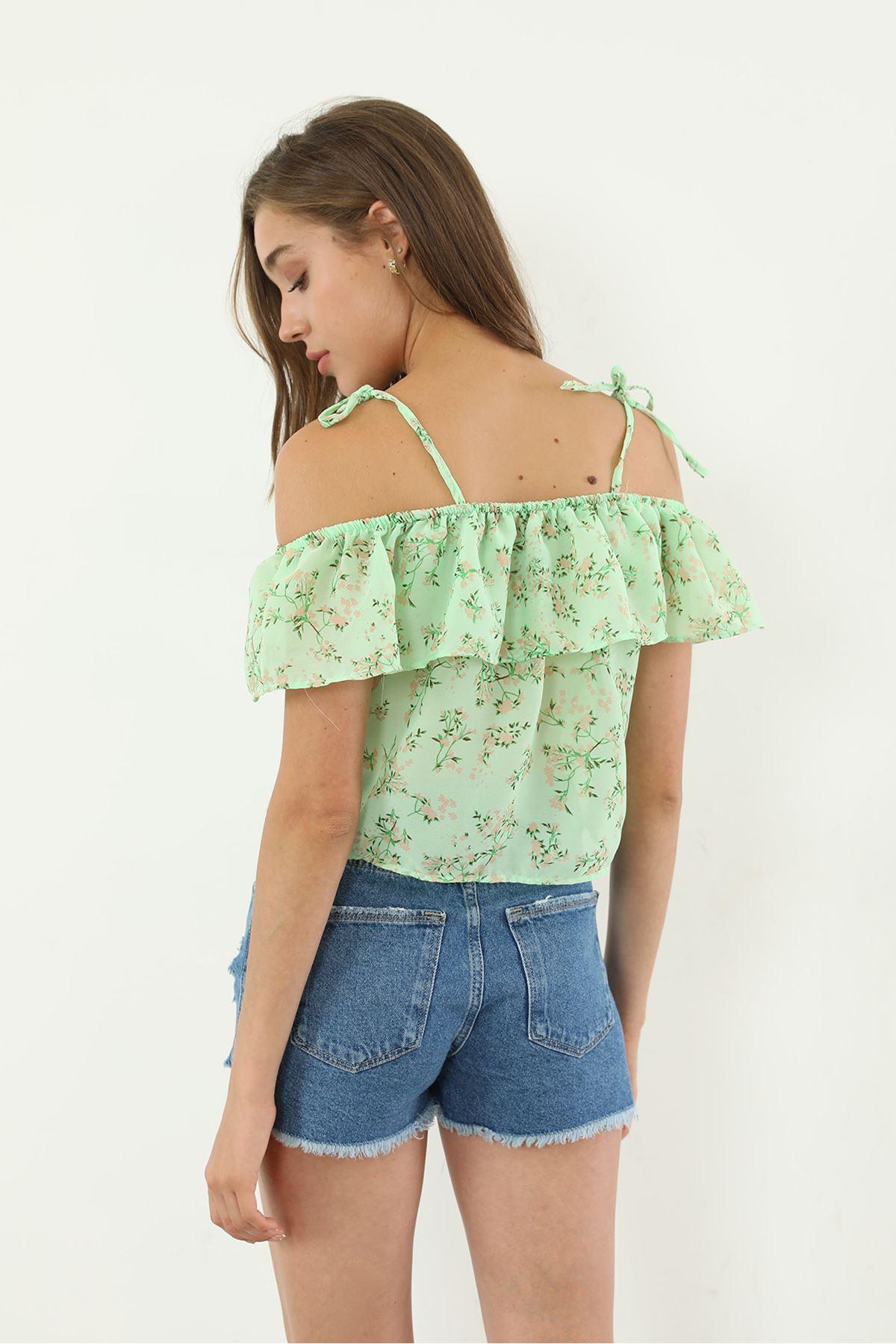Askılı Şifon Bluz-Yeşil