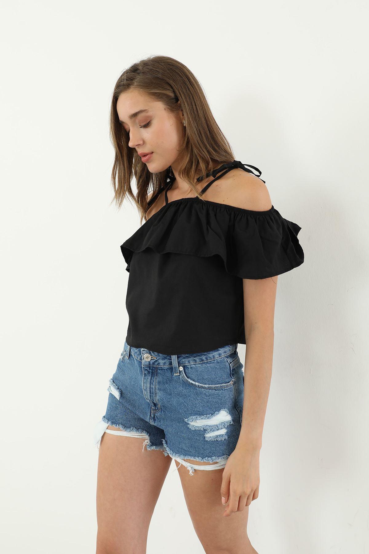 Askılı Bluz-Siyah
