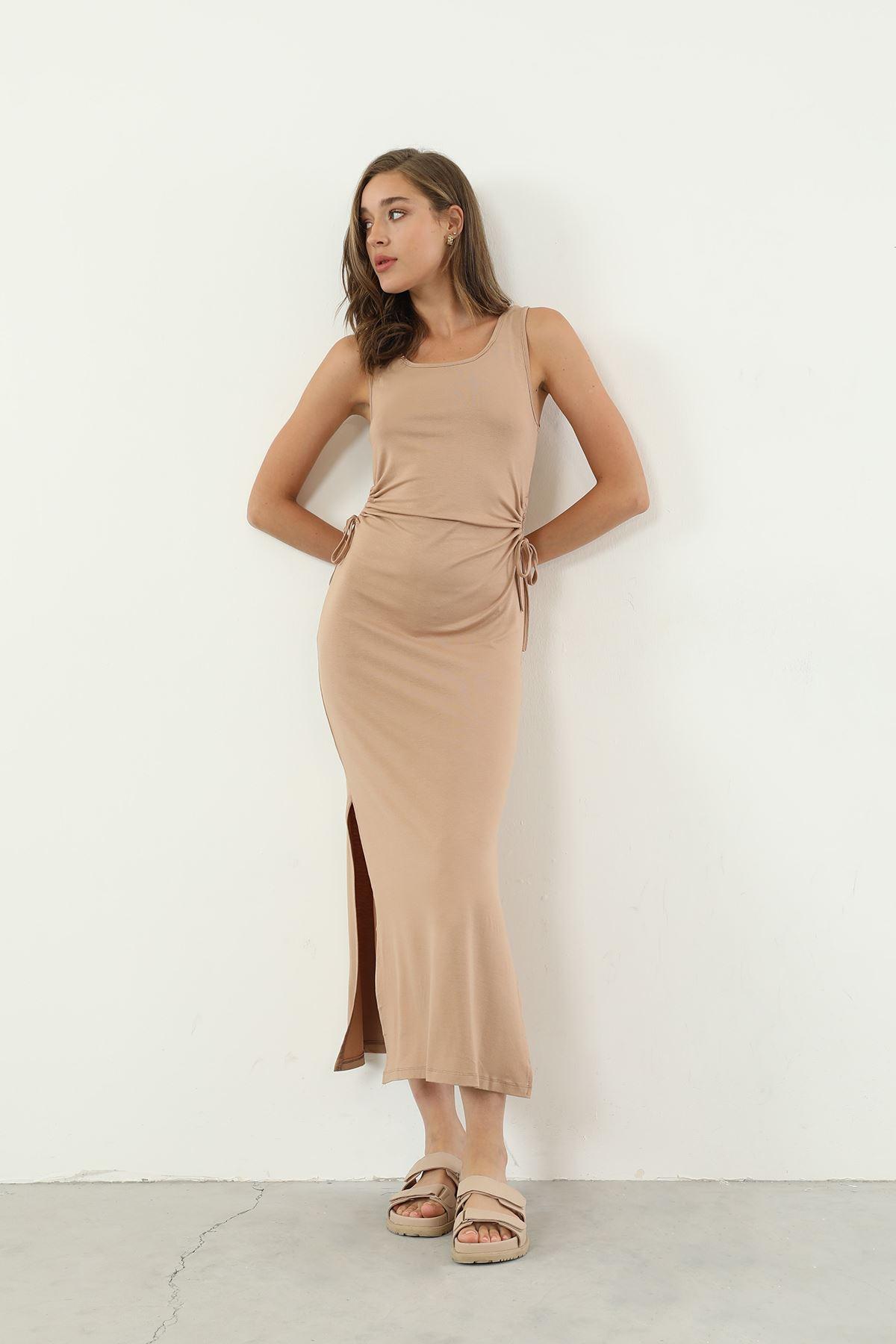 Sıfır Kol Uzun Elbise-Camel