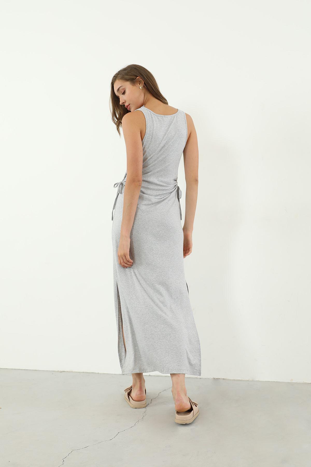 Sıfır Kol Uzun Elbise-Gri