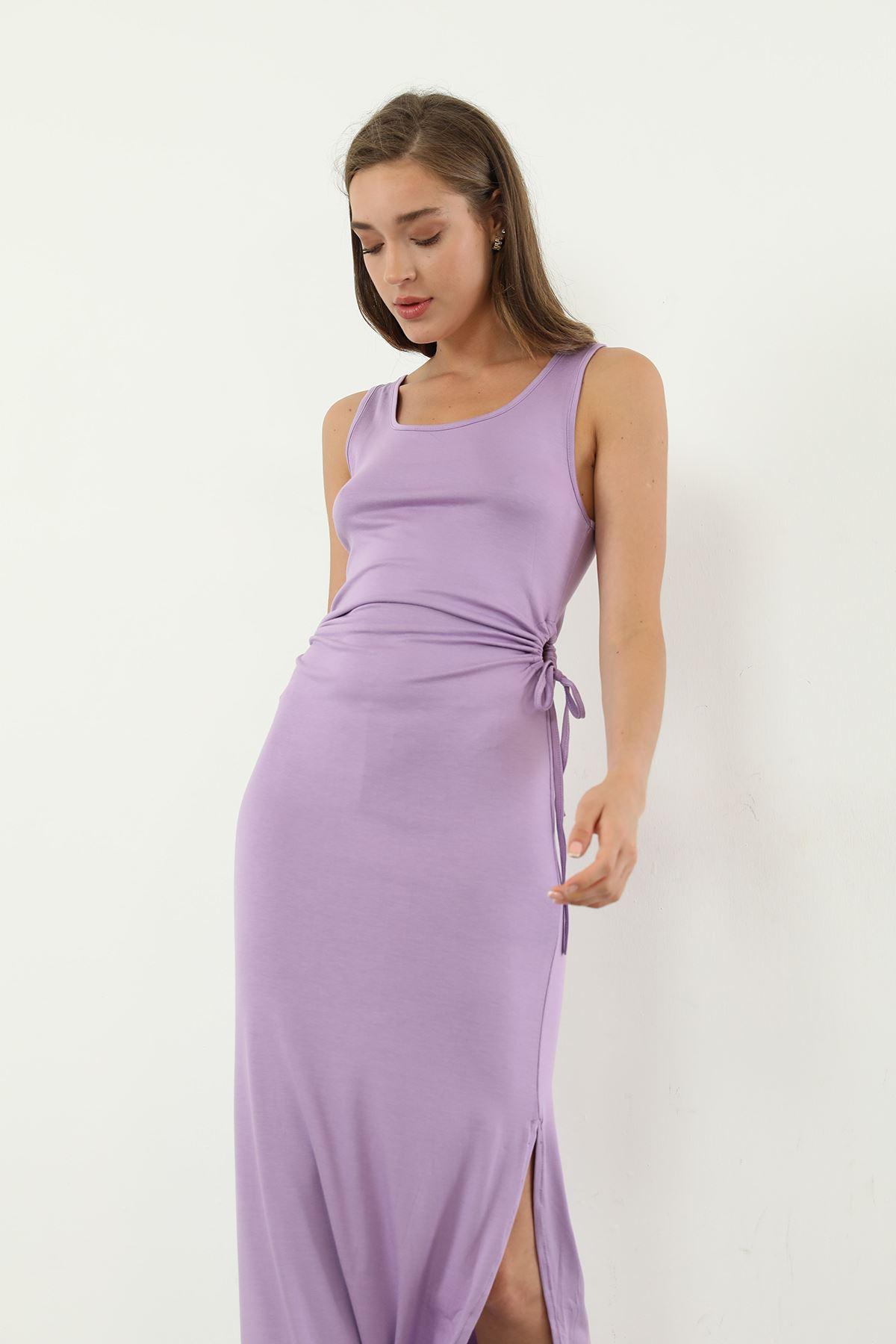 Sıfır Kol Uzun Elbise-Lila