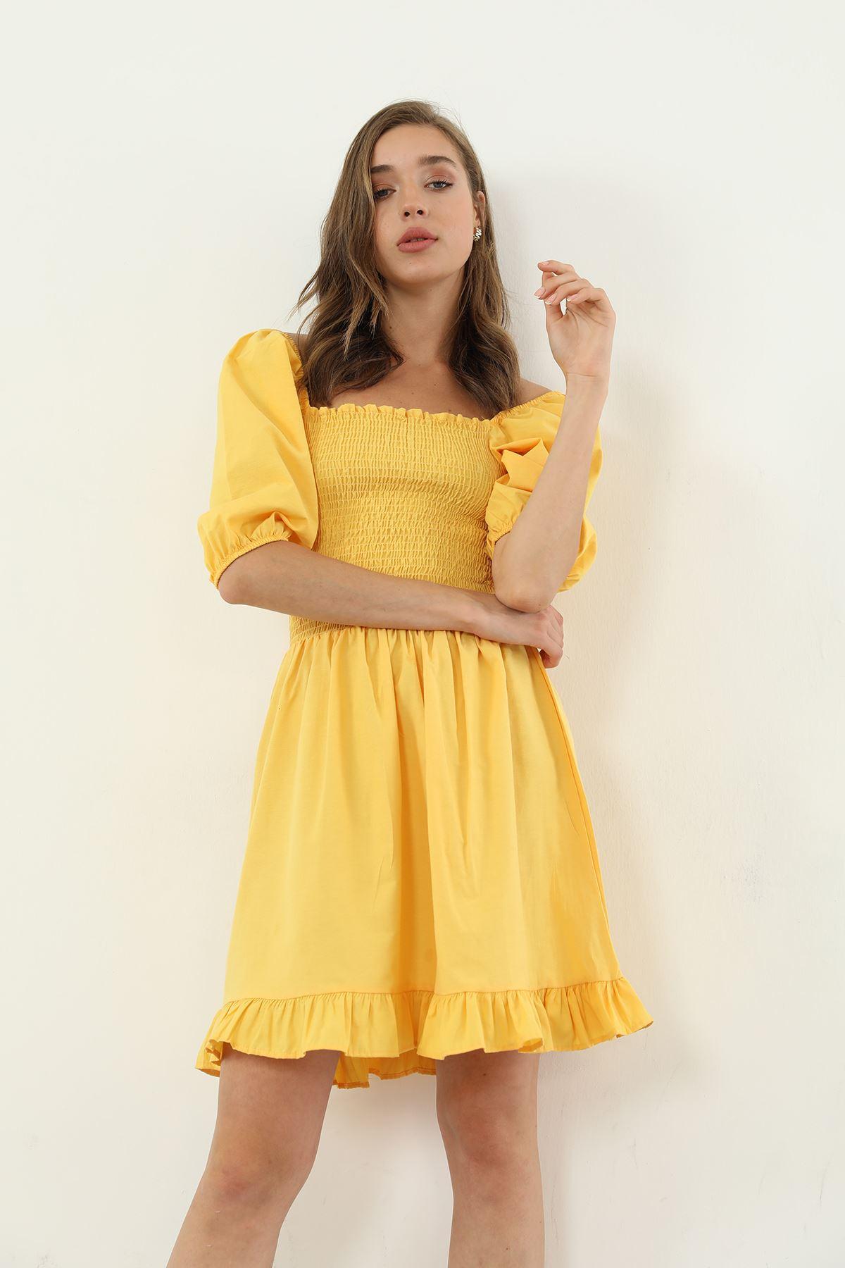 Eteği Fırfırlı Elbise-Hardal