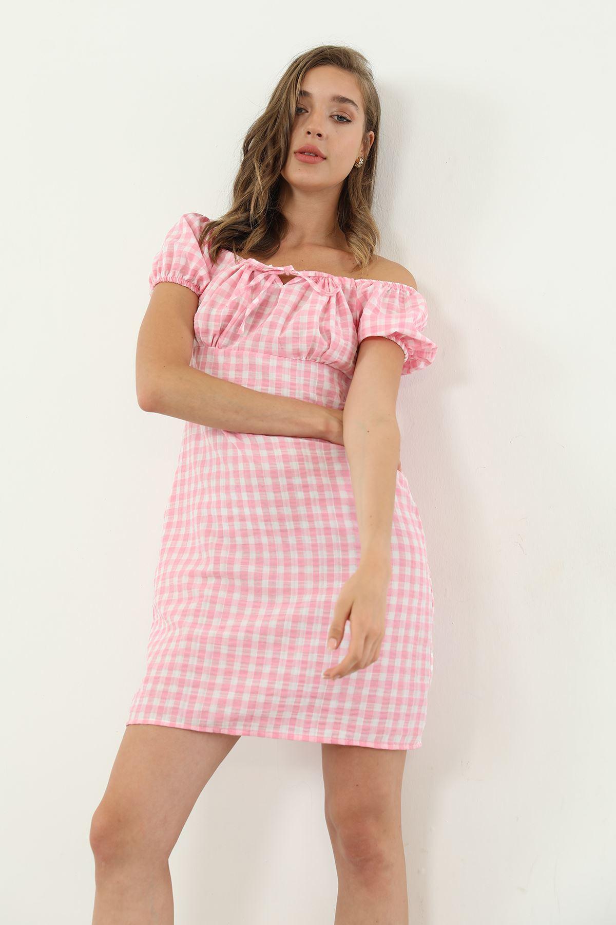 Ekose Desen Elbise-Pembe