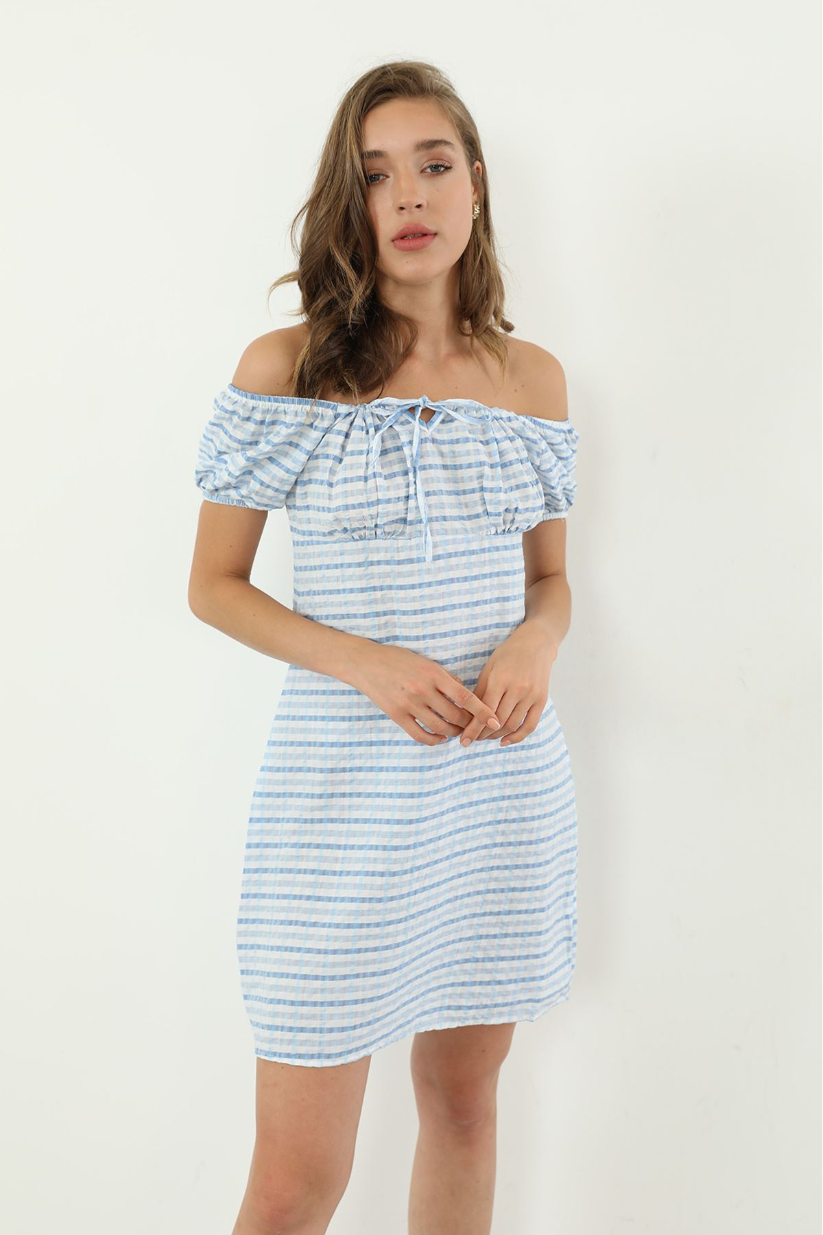 Ekose Desen Elbise-Mavi