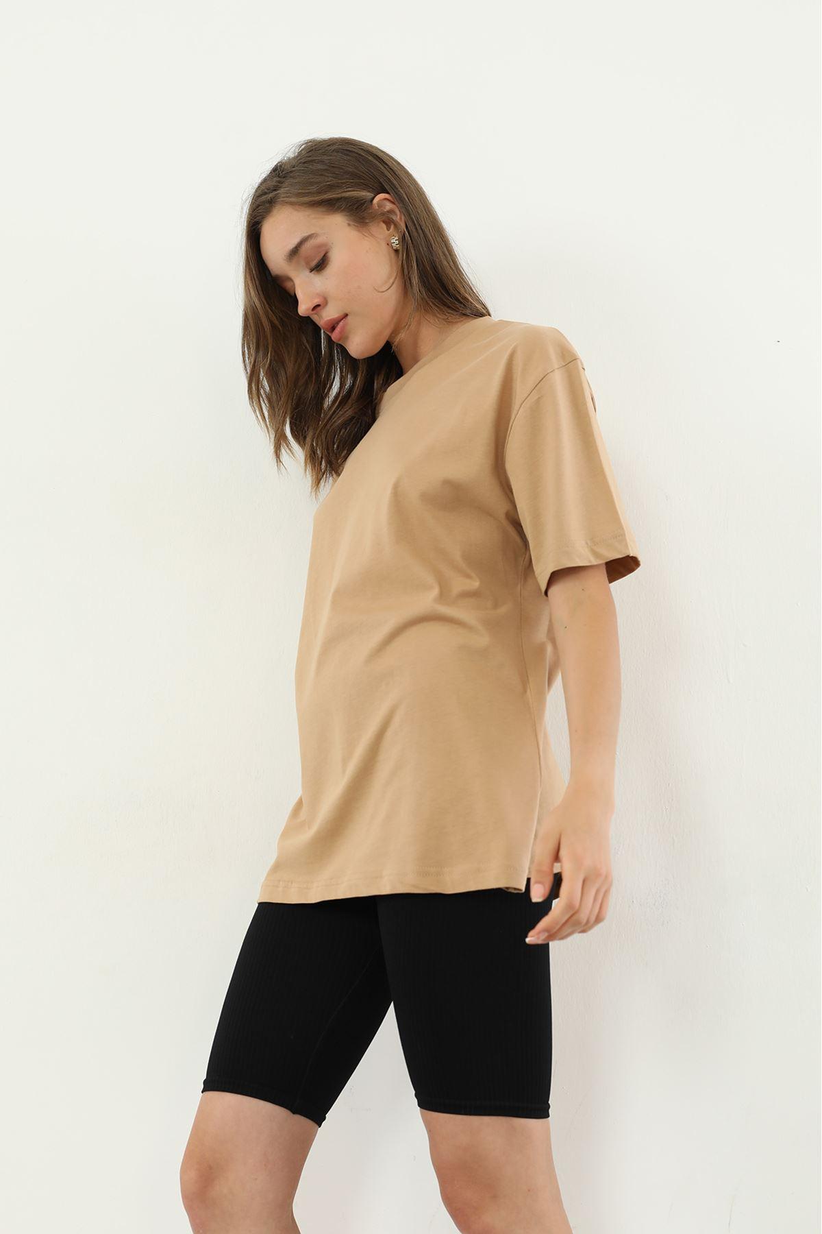 Oversize T-shirt-Camel