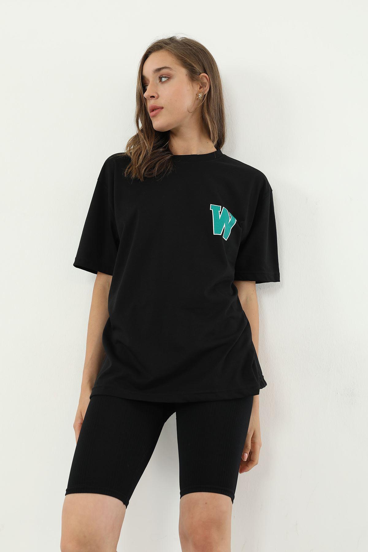 Baskılı Salaş T-shirt-Siyah