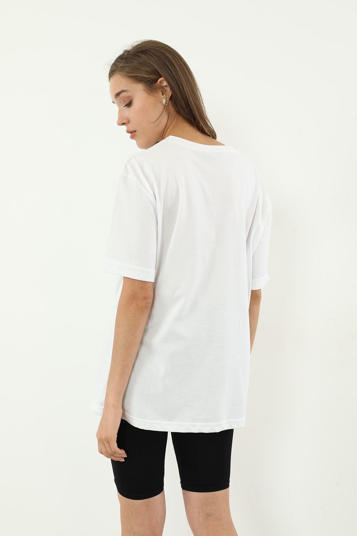 Baskılı Salaş T-shirt-Beyaz