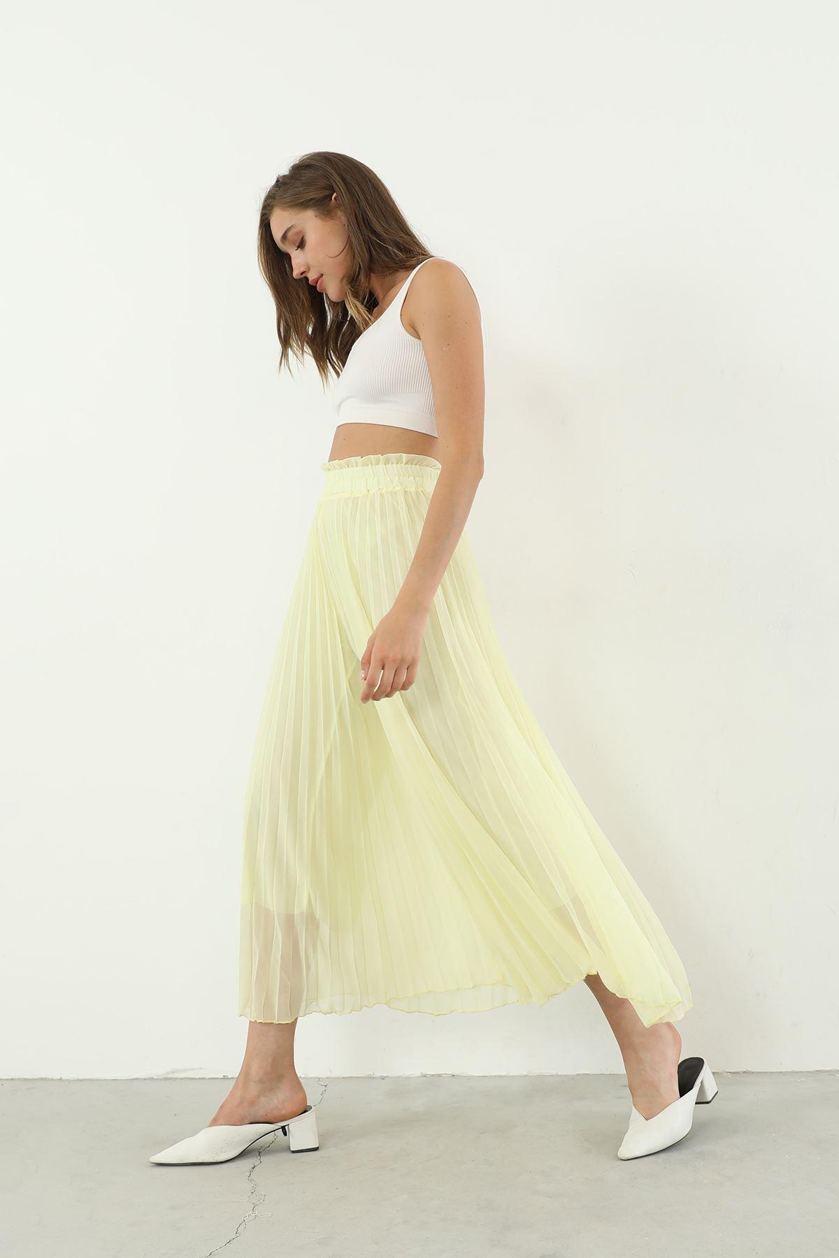Şifon Piliseli Pantolon-Sarı