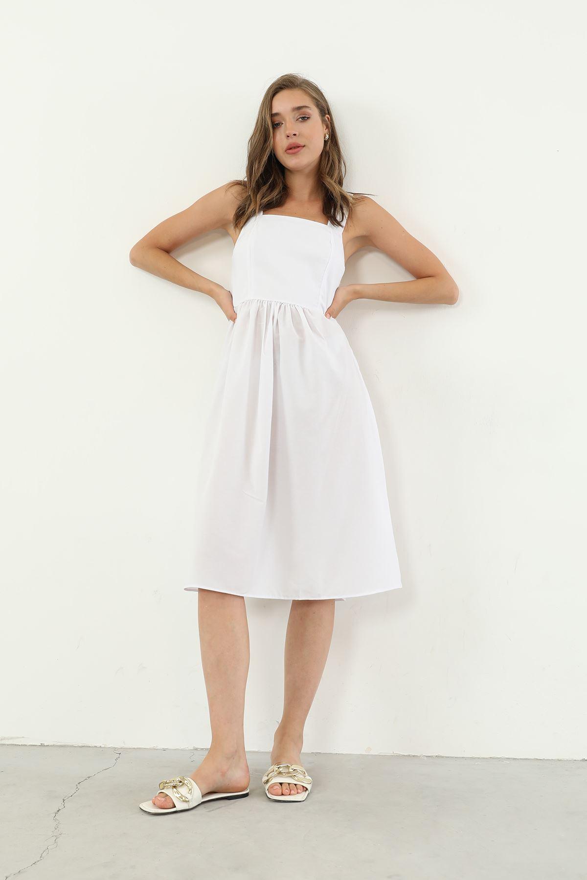 Askılı Elbise-Beyaz