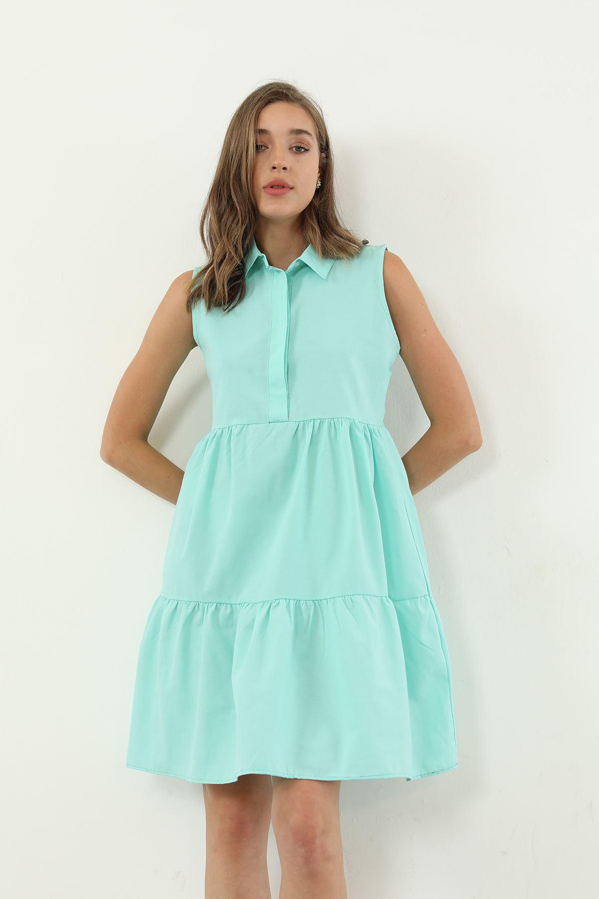 Gömlek Yaka Elbise-Su Yeşili