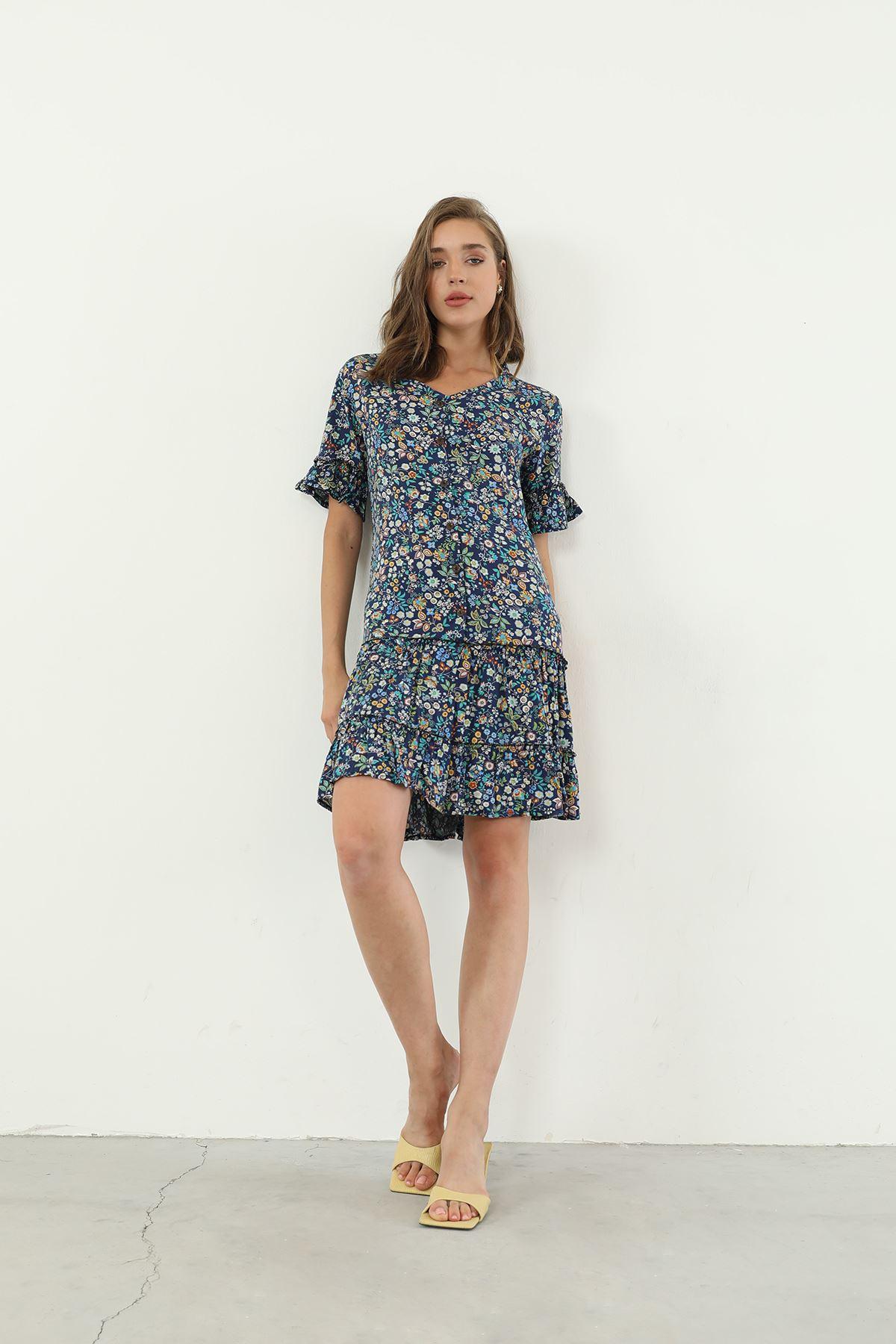 V Yaka Desenli Elbise-Lacivert