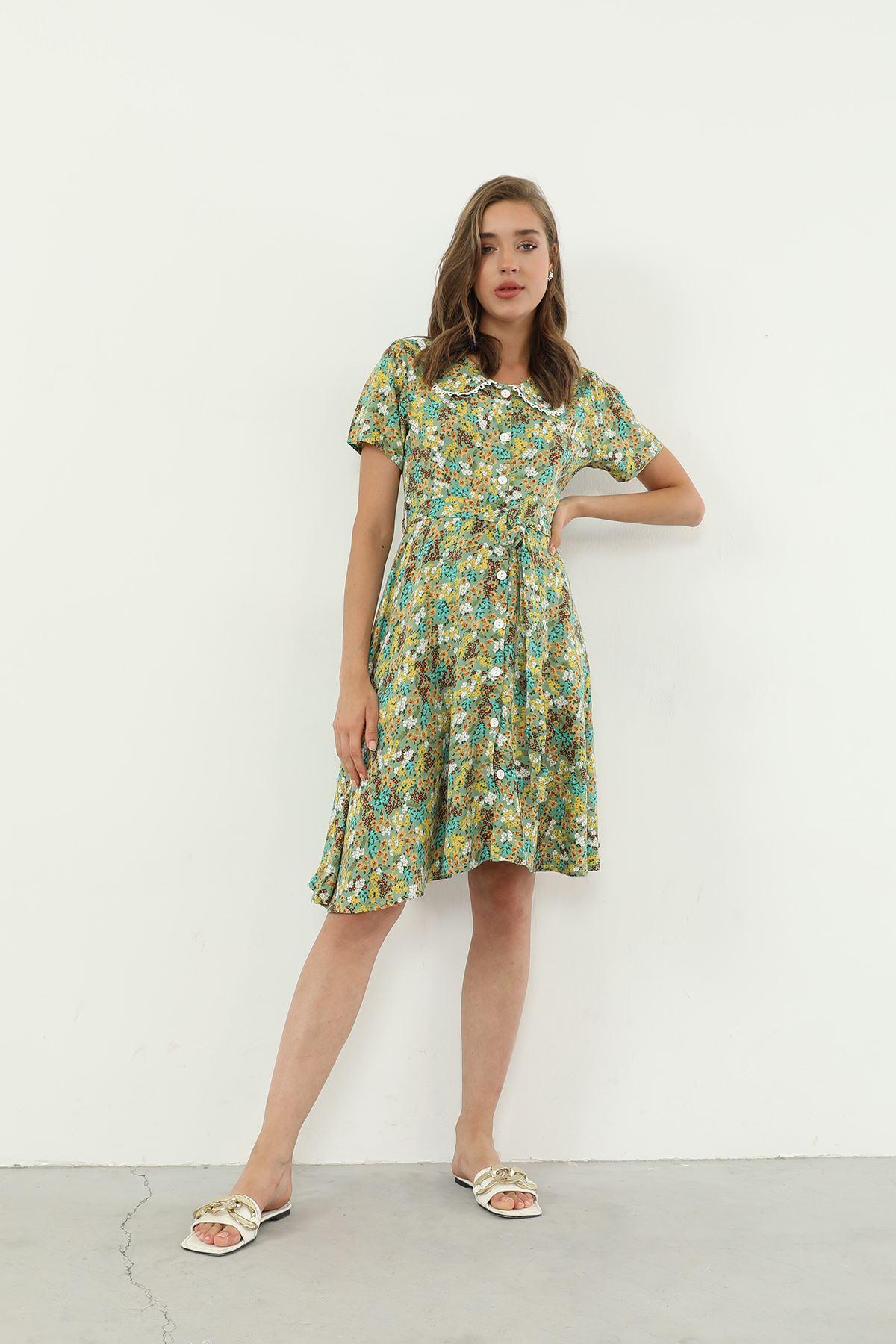 Bebe Yaka Kruvaze Elbise-Yeşil