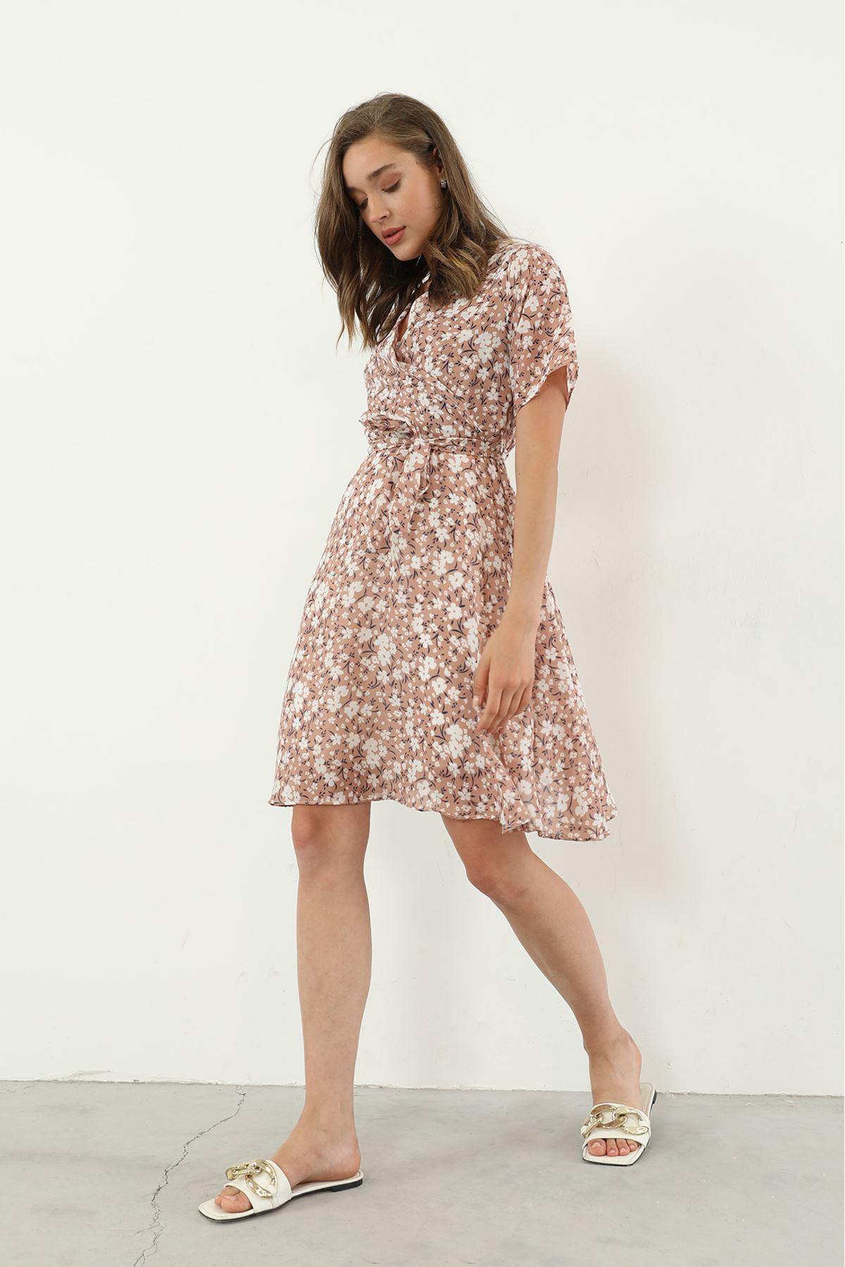 Kuşaklı Şifon Elbise-Bej