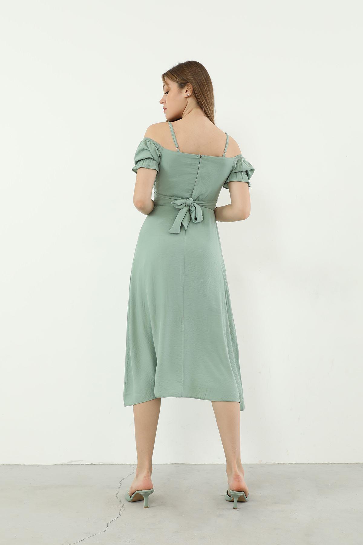 Kuşaklı Elbise-Yeşil