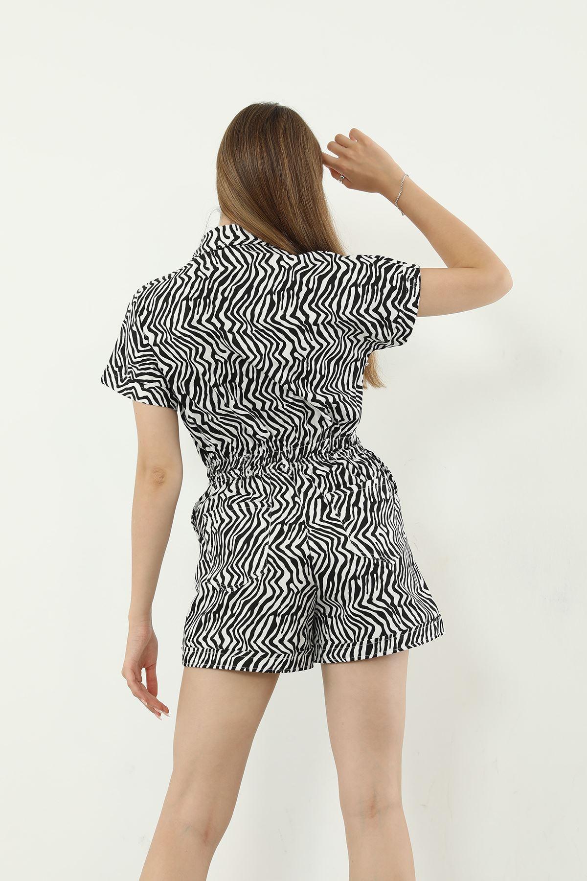 Zebra Desen Şort Tulum-Siyah