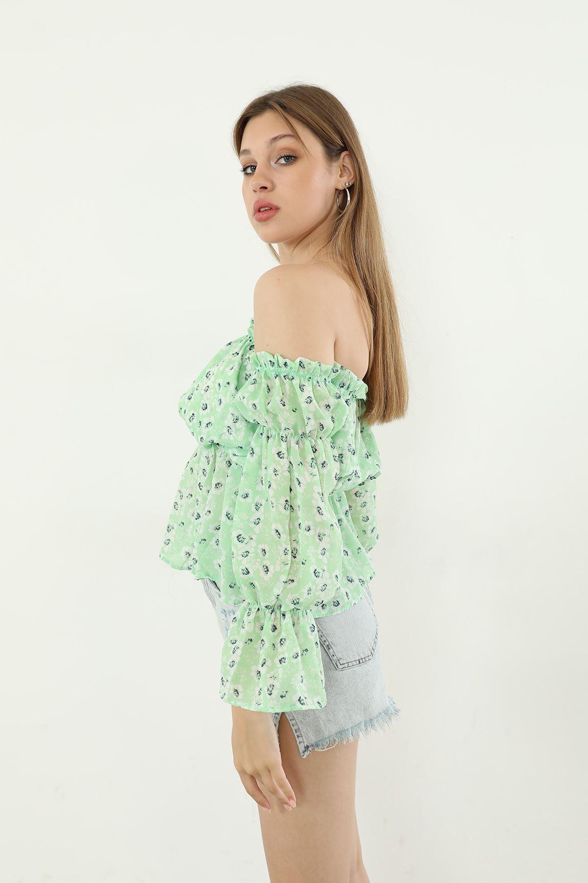 Gipeli Şifon Bluz-Yeşil