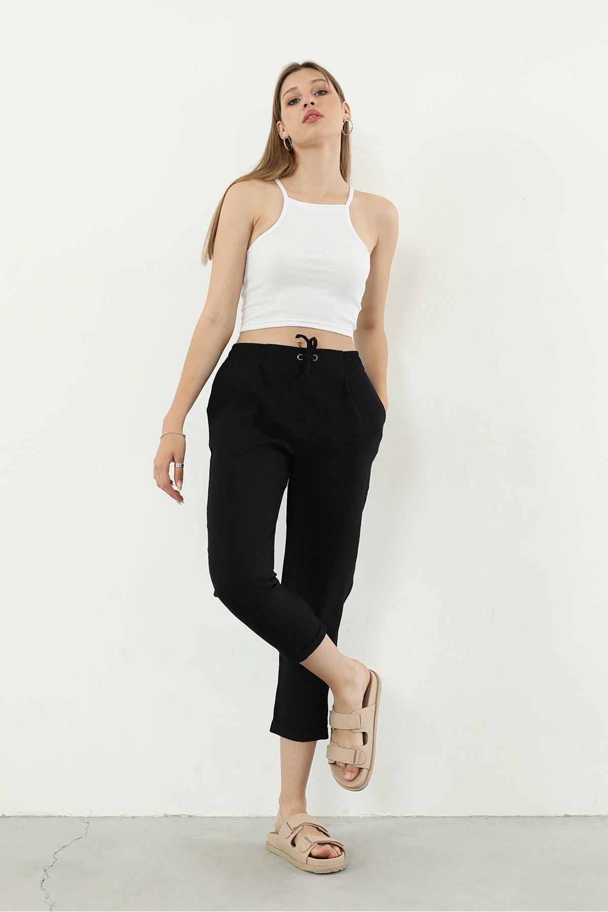 Beli Lastikli Pantolon-Siyah