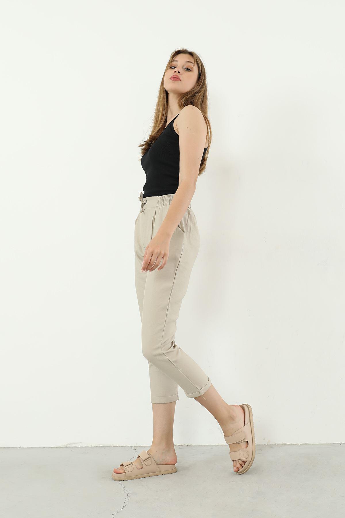 Beli Lastikli Pantolon-Taş